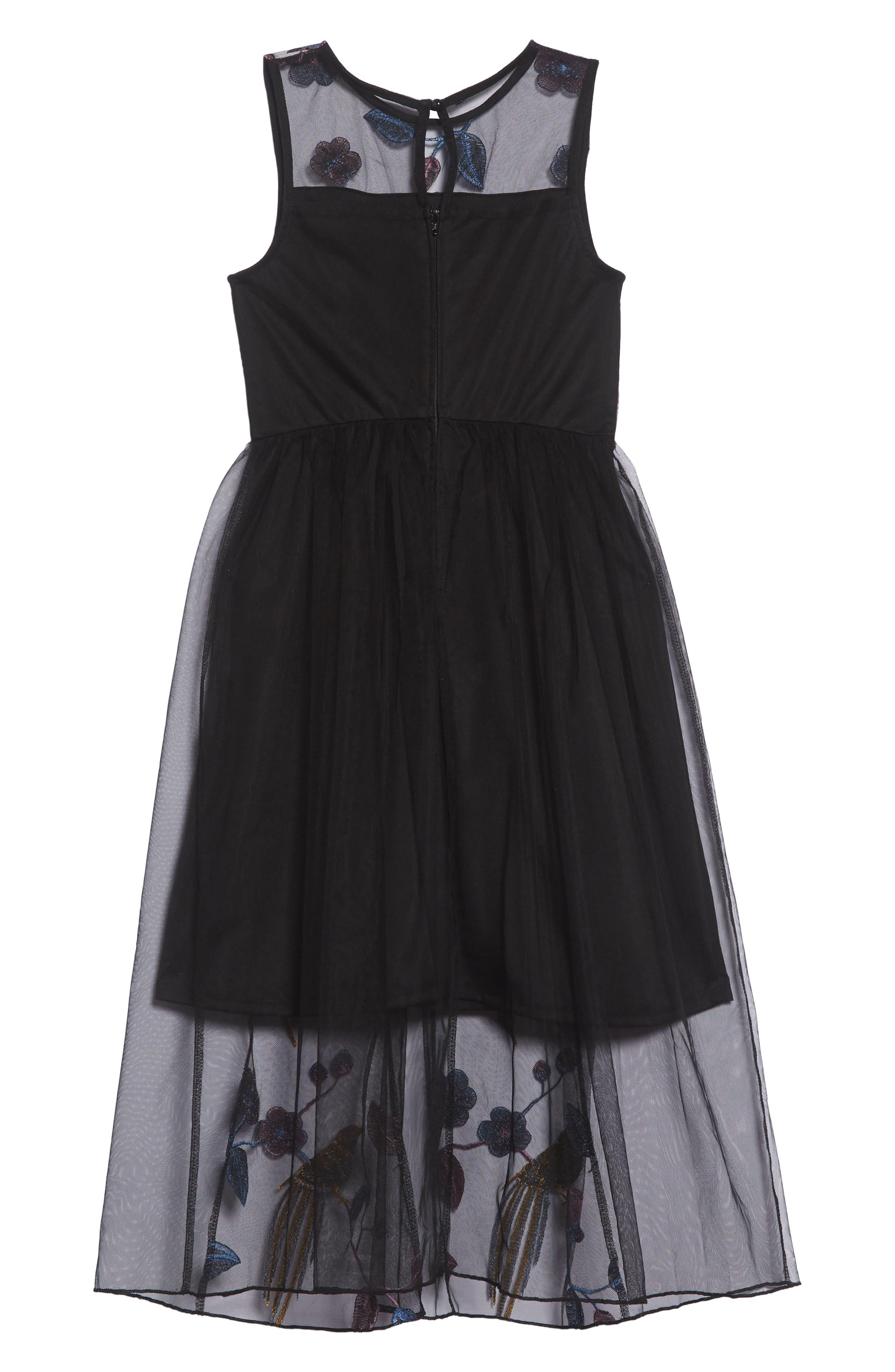 Embroidered Bird Maxi Dress,                             Alternate thumbnail 2, color,                             BLACK