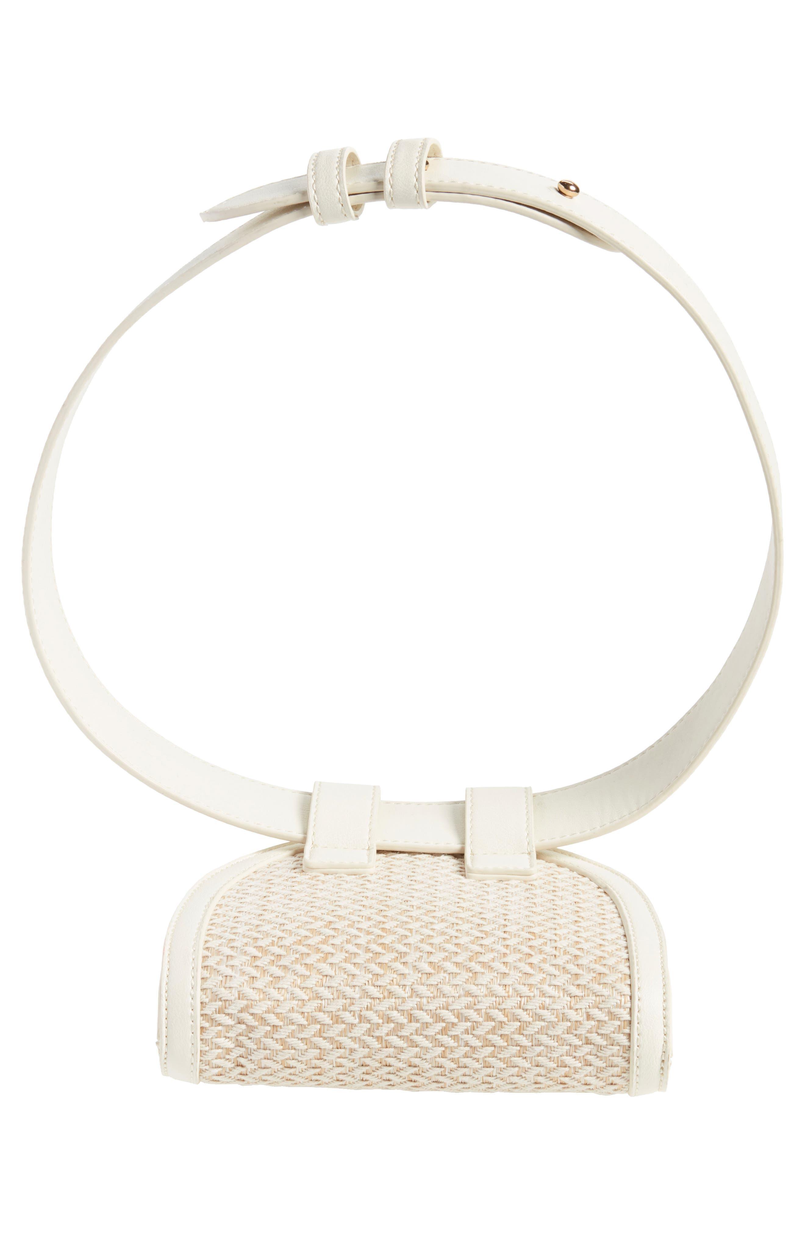 Straw & Faux Leather Belt Bag,                             Alternate thumbnail 6, color,                             250