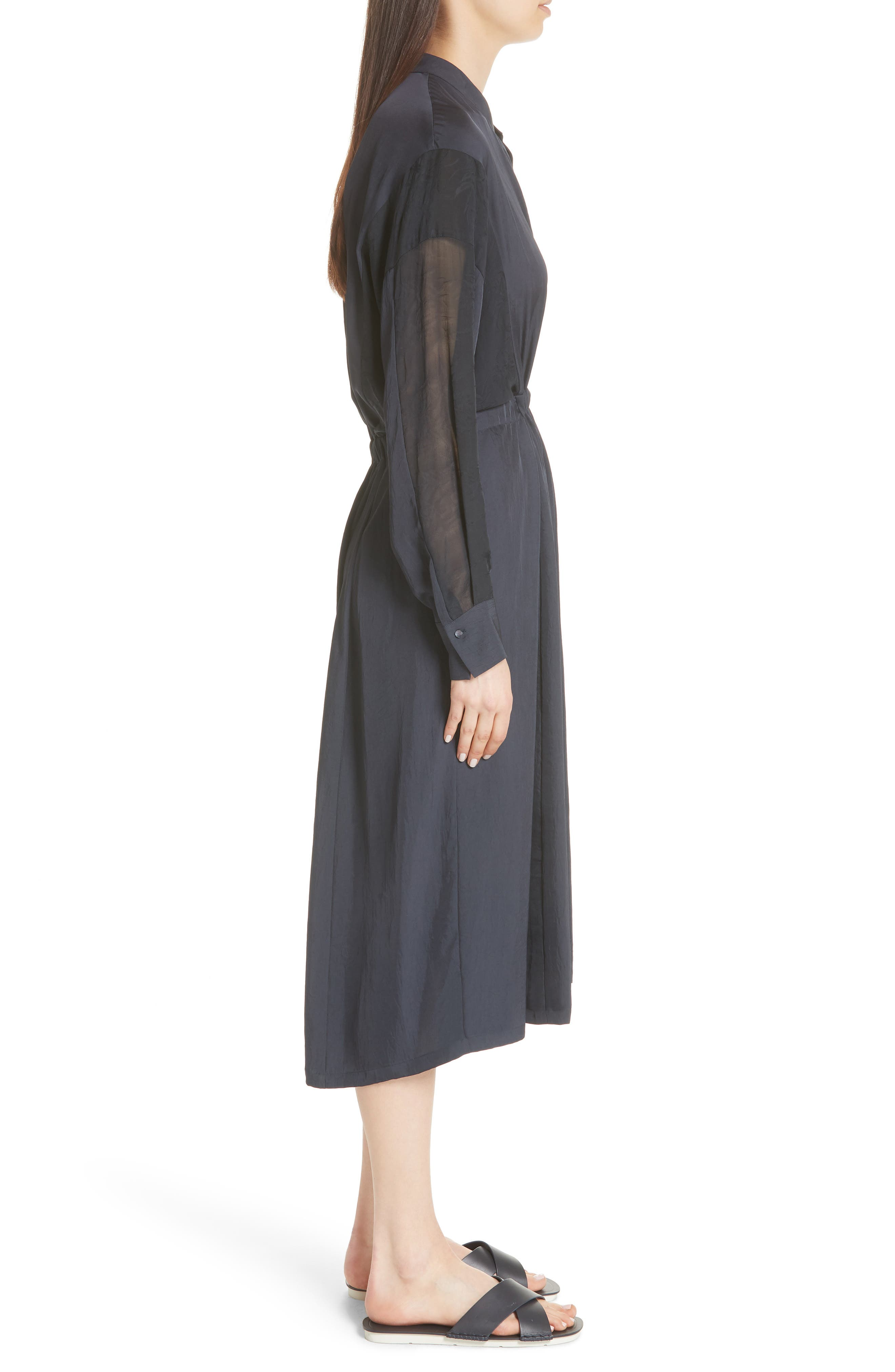 Mixed Media Midi Dress,                             Alternate thumbnail 3, color,                             403