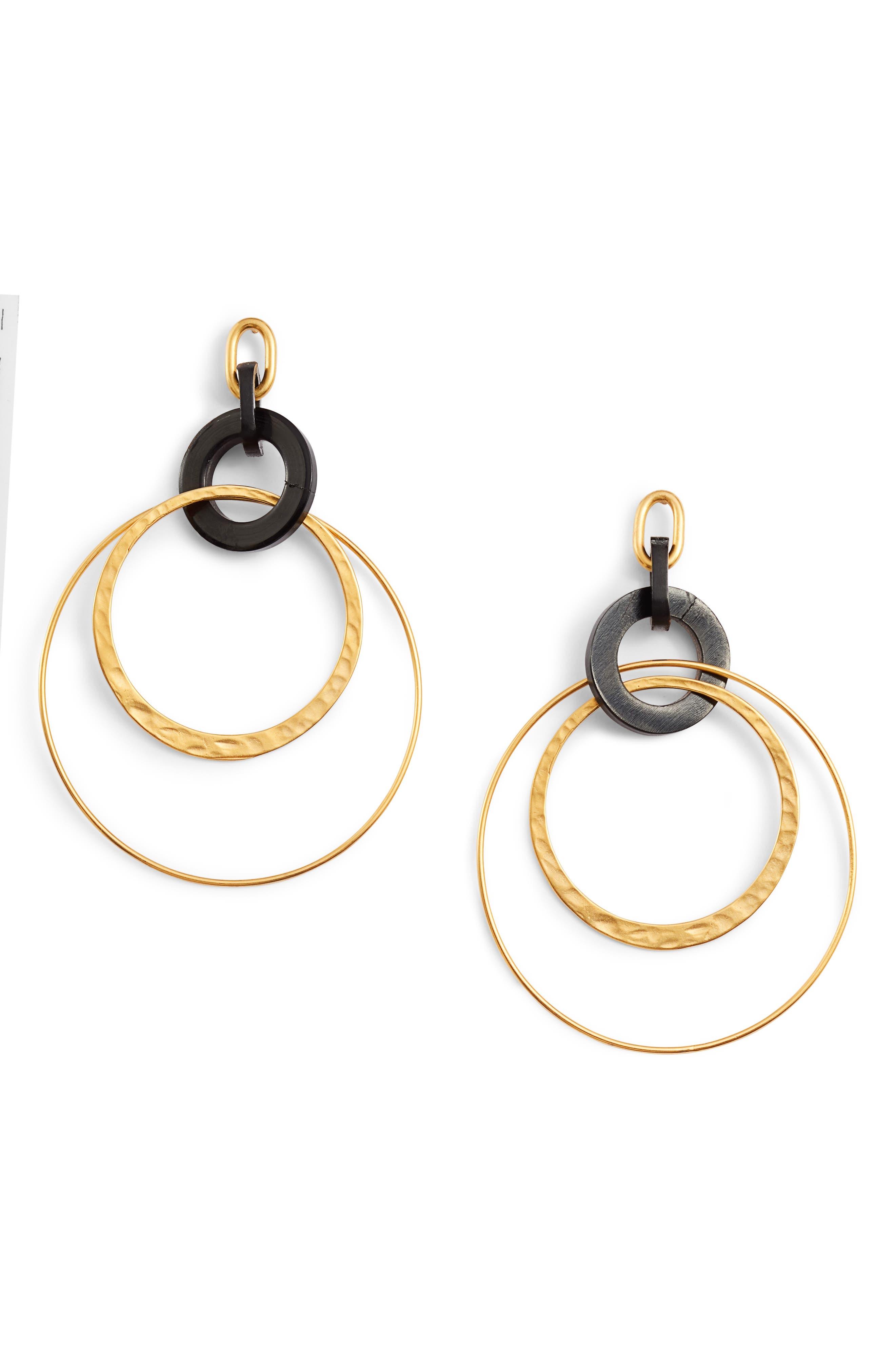 Horn Hoop Earrings,                         Main,                         color, BLACK HORN