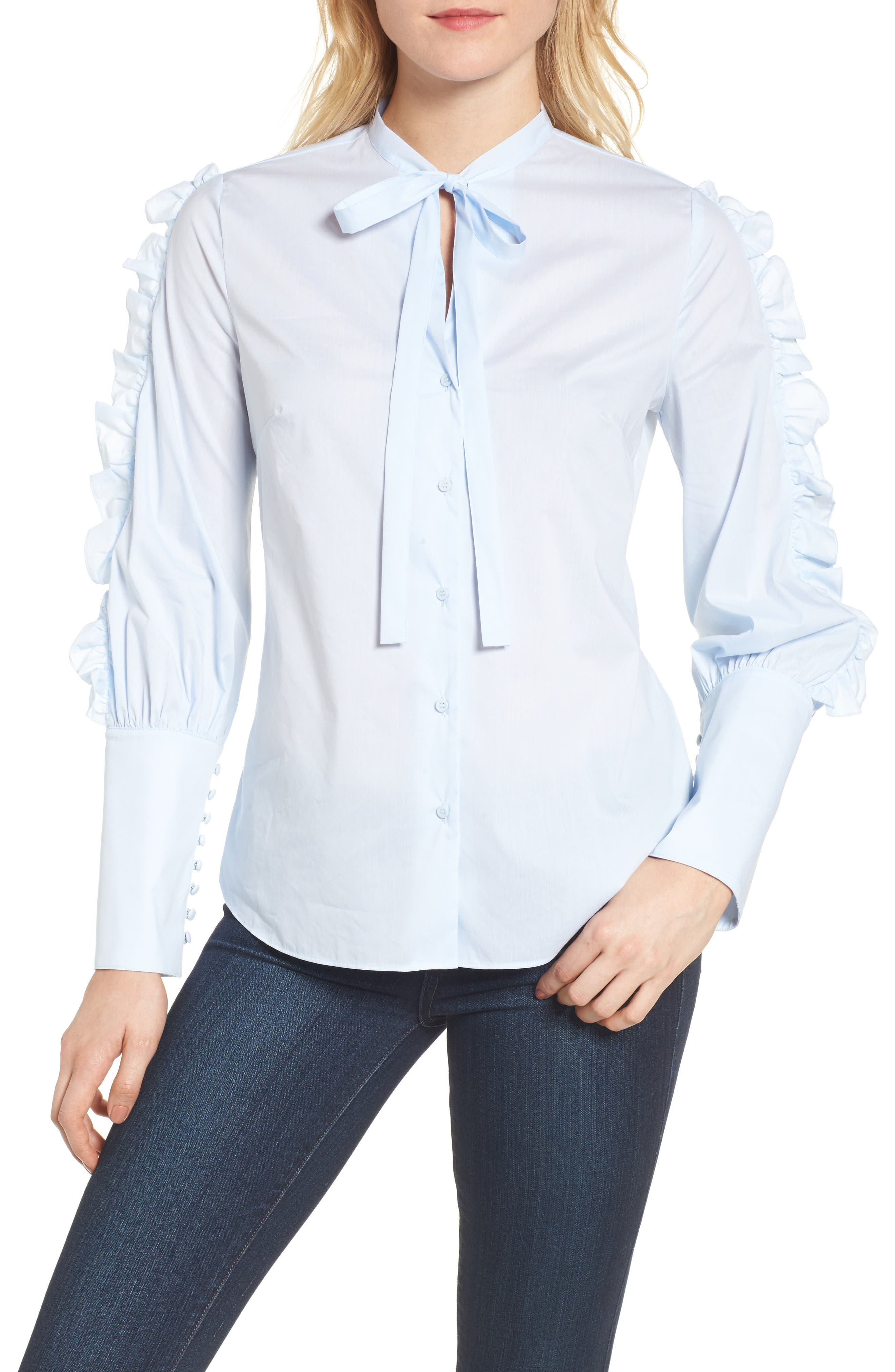 Ruffle Sleeve Poplin Blouse,                         Main,                         color, 450