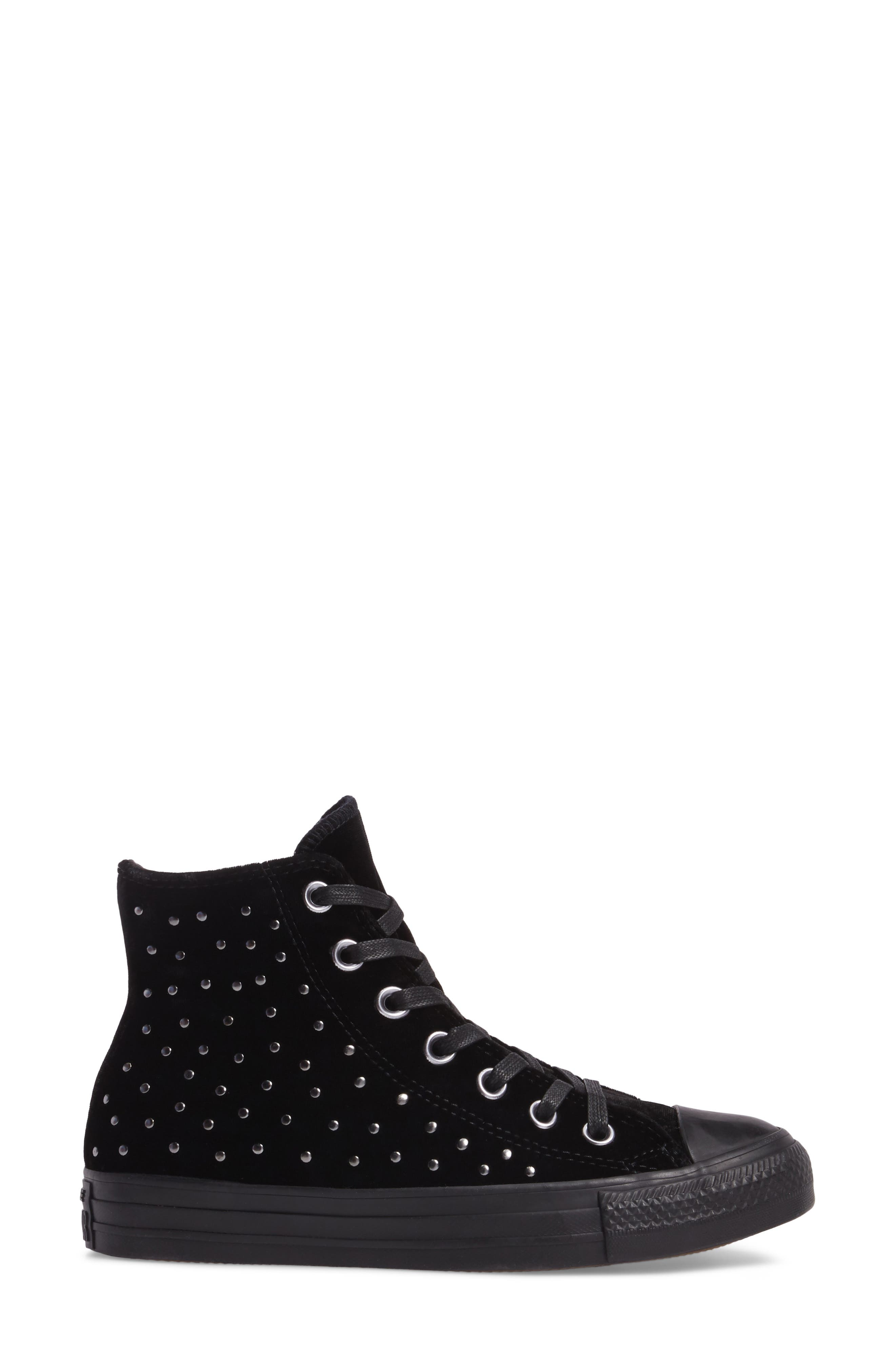 Chuck Taylor<sup>®</sup> All Star<sup>®</sup> Studded High Top Sneakers,                             Alternate thumbnail 3, color,                             001
