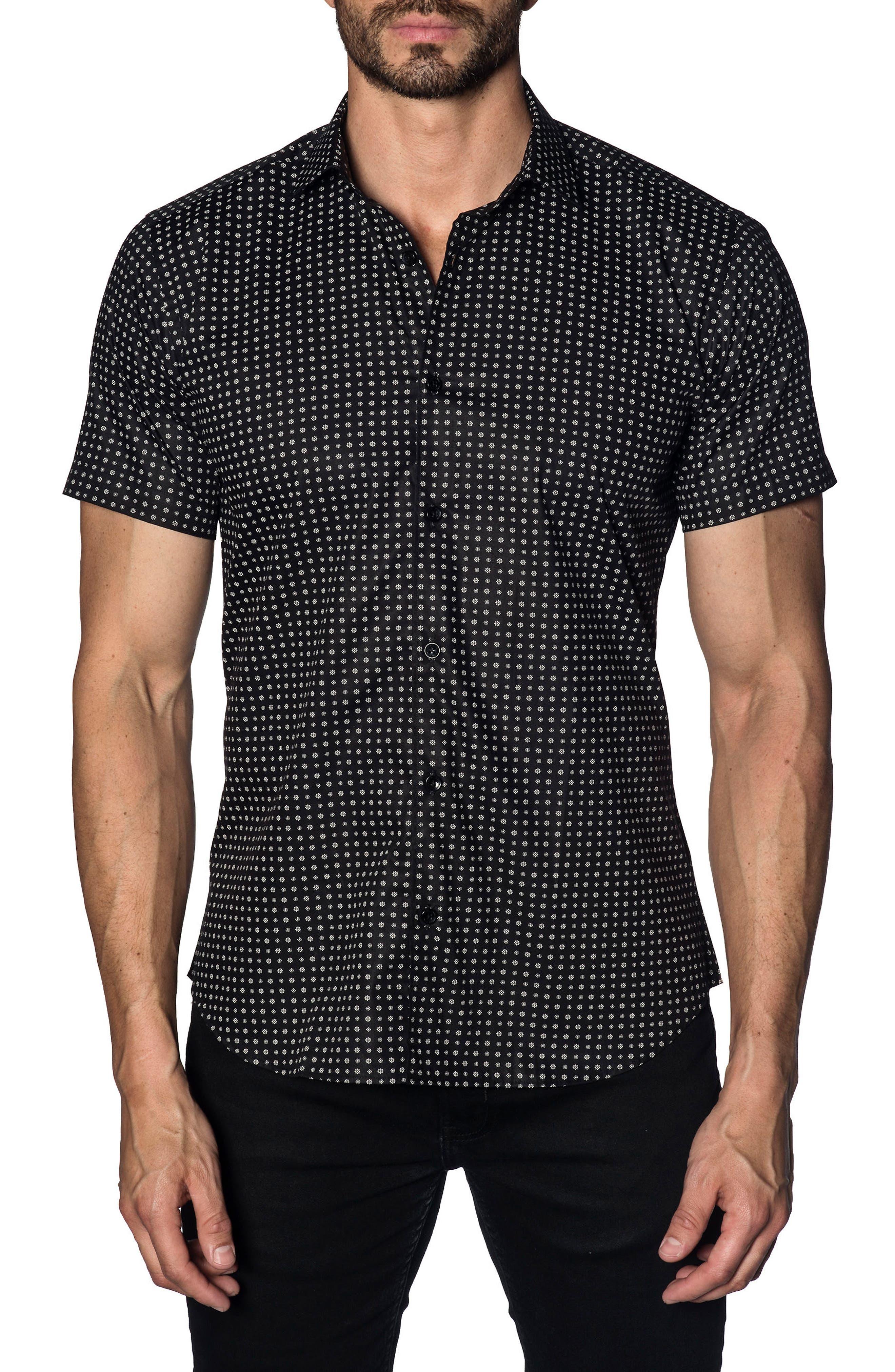 Trim Fit Print Sport Shirt,                             Main thumbnail 1, color,                             BLACK