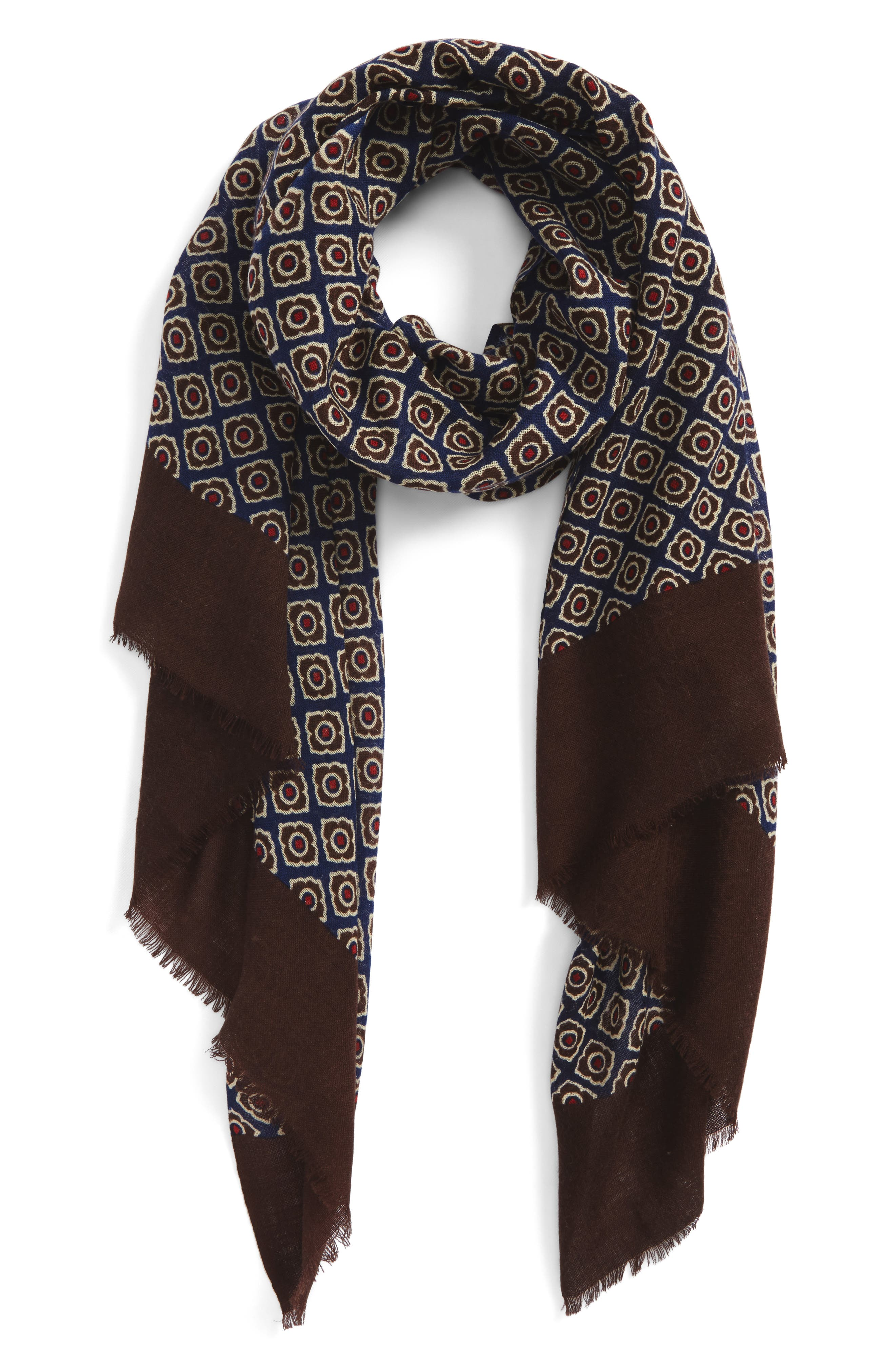 Floral Wool Scarf,                         Main,                         color, 201