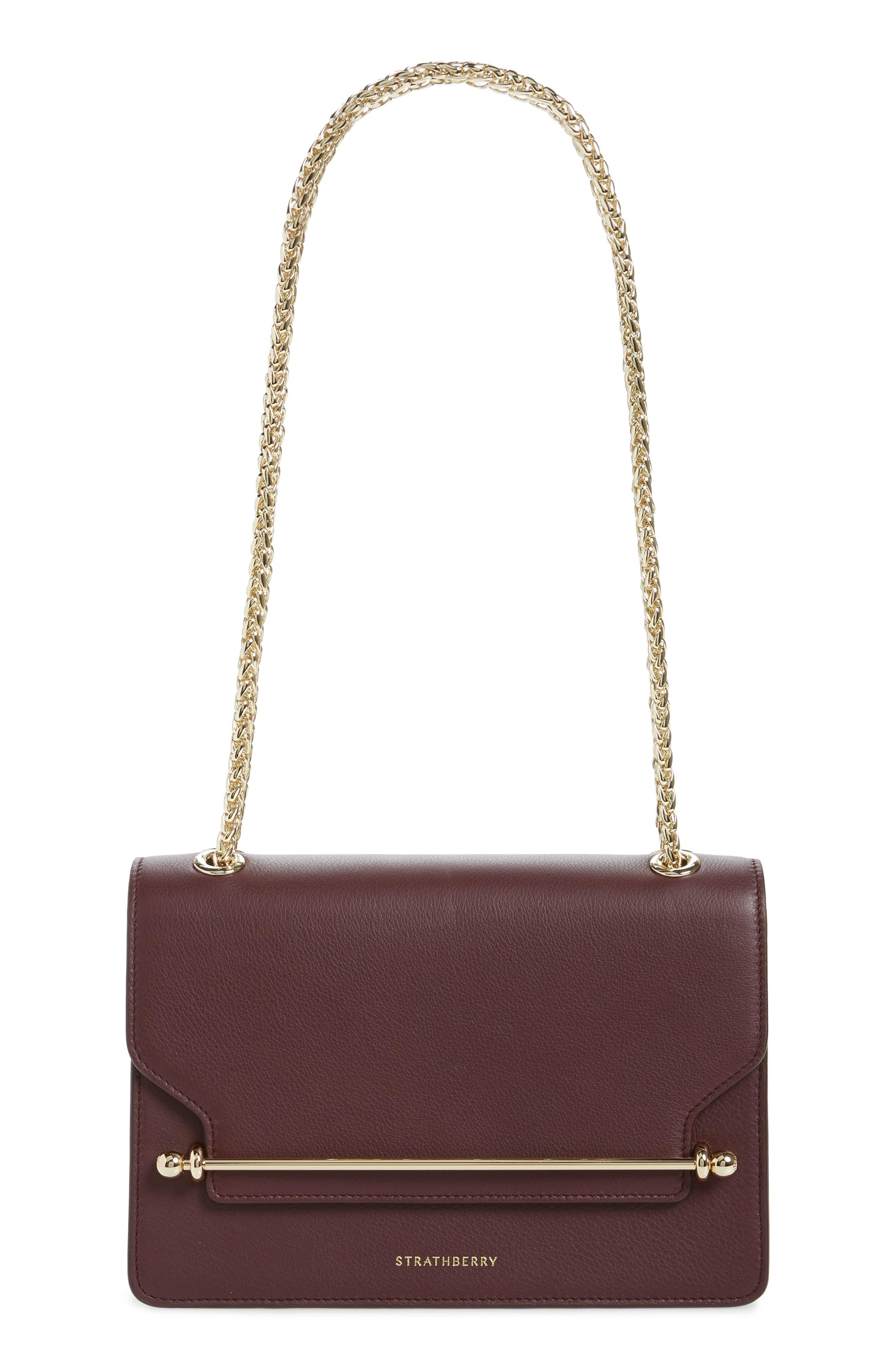 STRATHBERRY East/West Leather Crossbody Bag - Burgundy