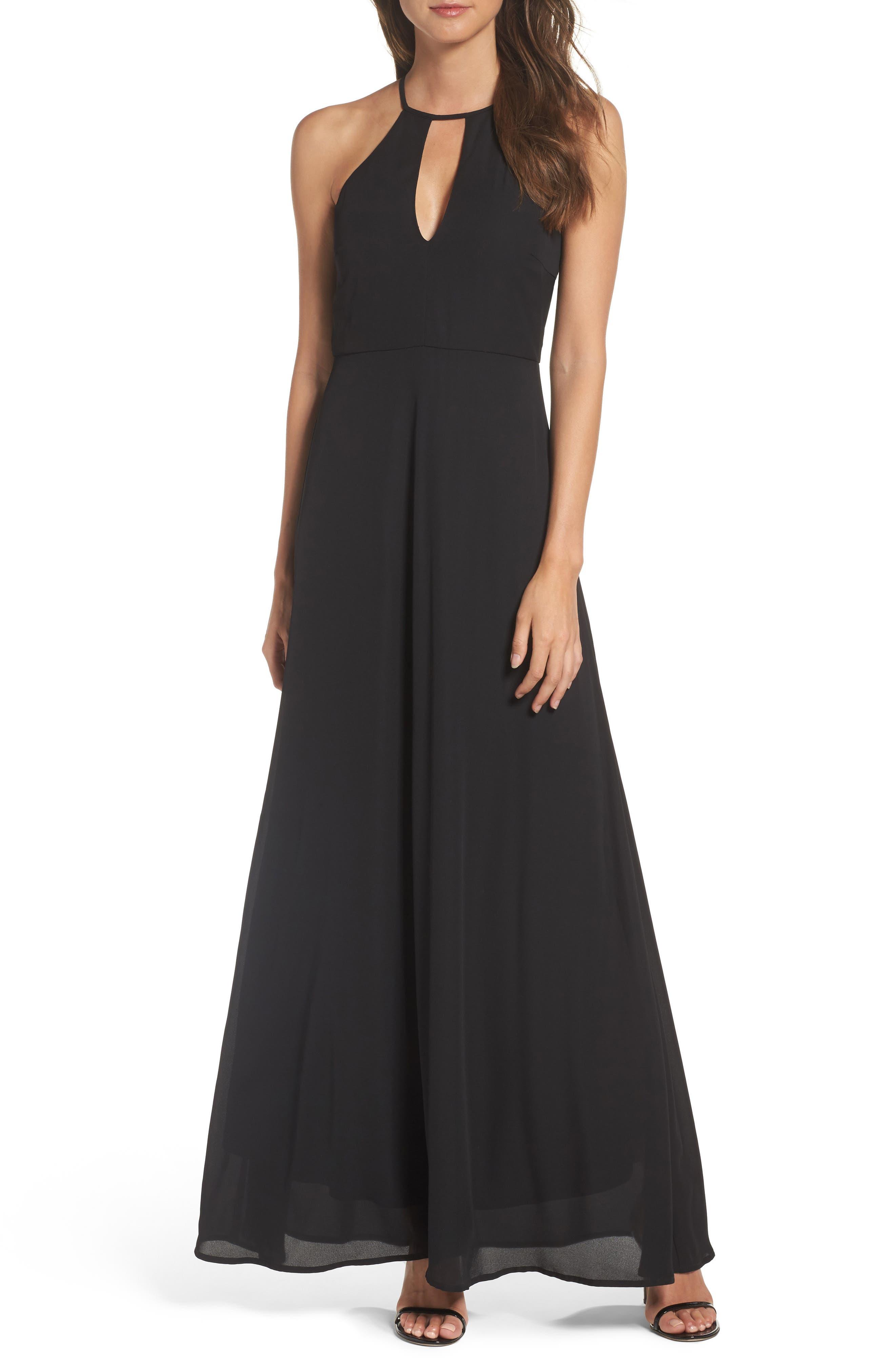 Halter A-Line Chiffon Gown,                         Main,                         color, 001