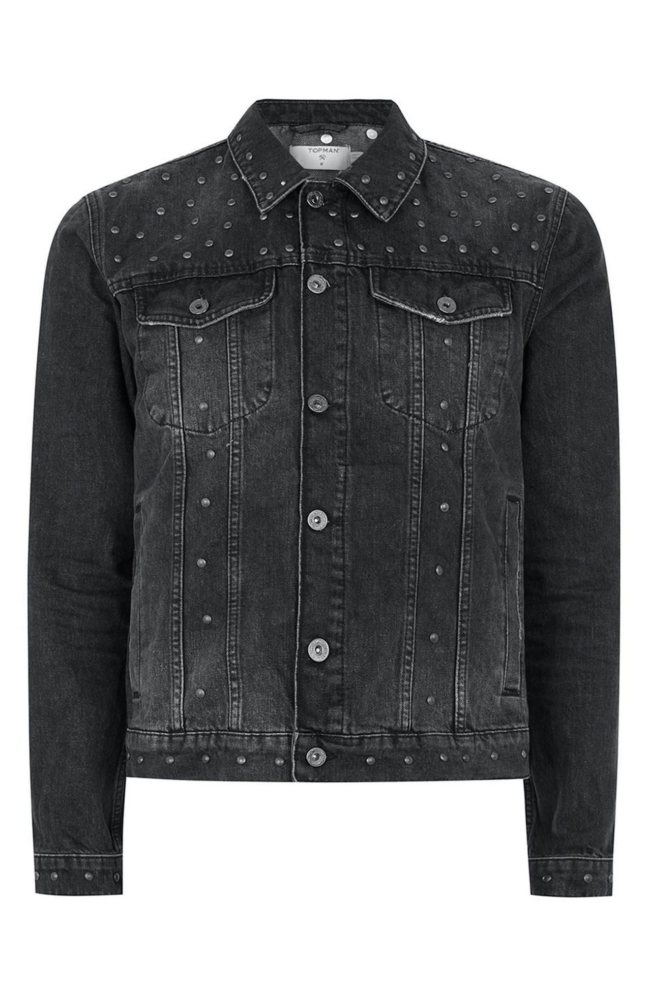 Studded Denim Jacket,                             Alternate thumbnail 4, color,