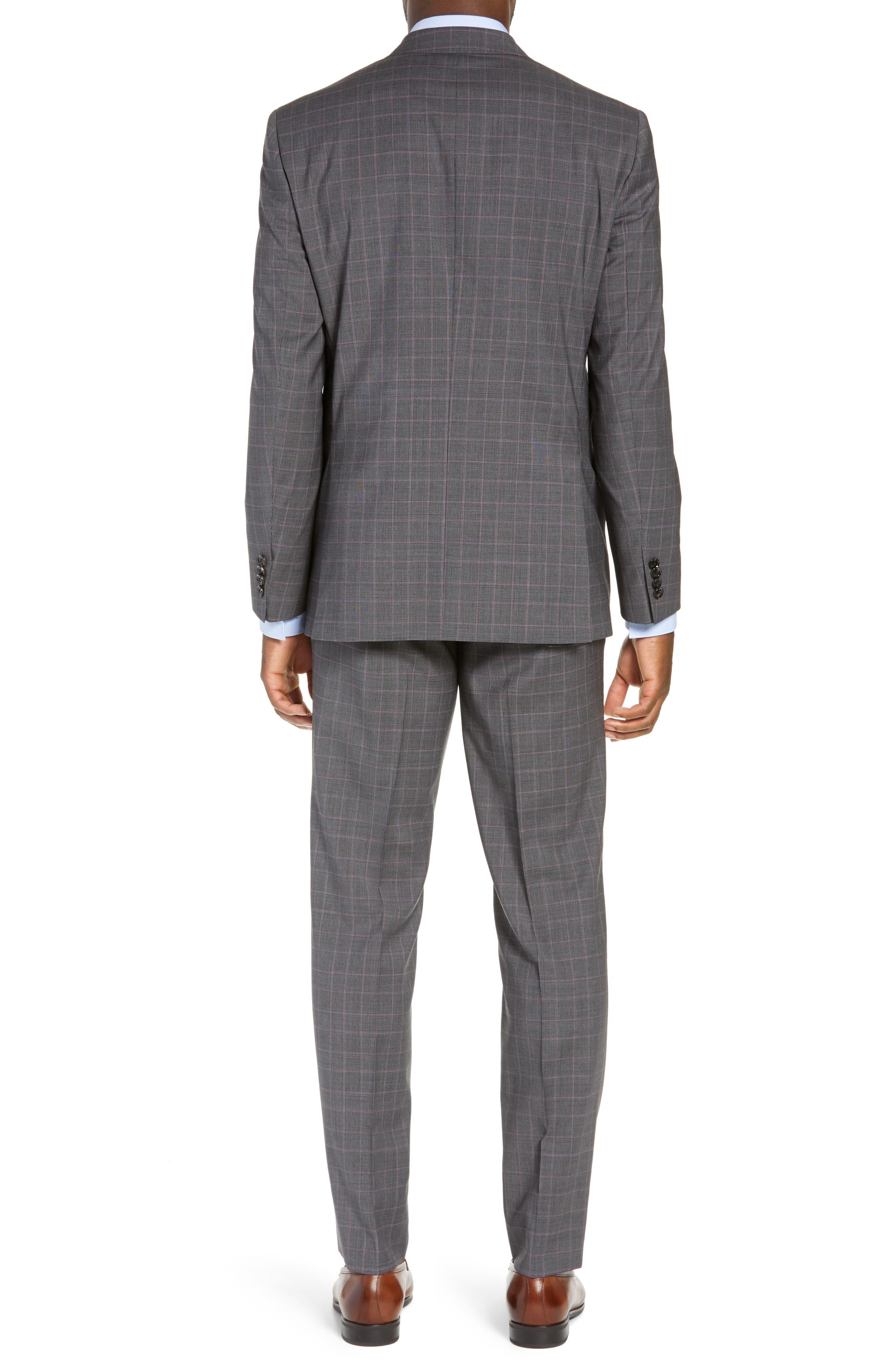 TED BAKER LONDON,                             Jay Trim Fit Plaid Wool Suit,                             Alternate thumbnail 2, color,                             GREY