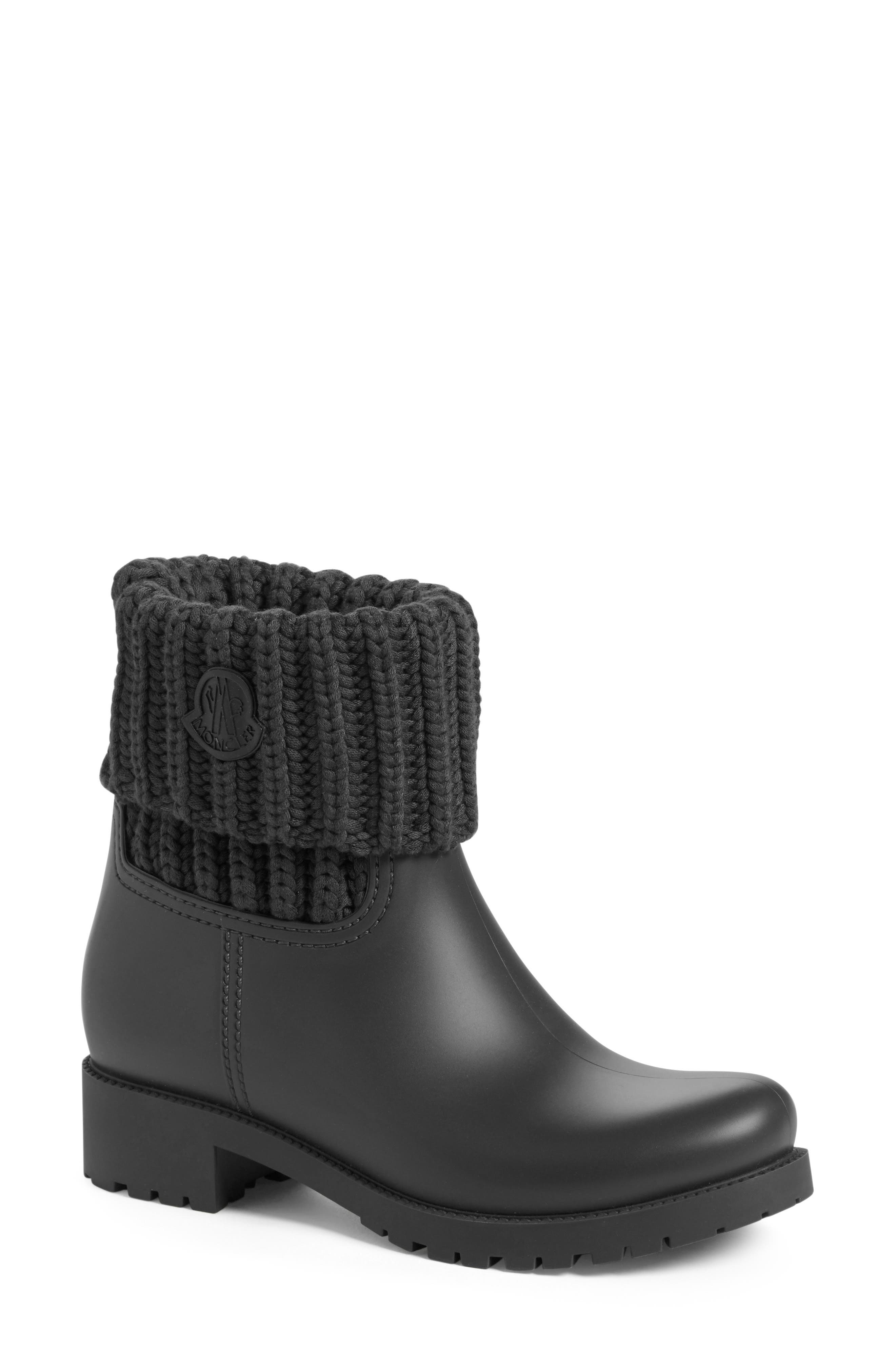Ginette Knit Cuff Leather Rain Boot,                             Main thumbnail 1, color,                             002
