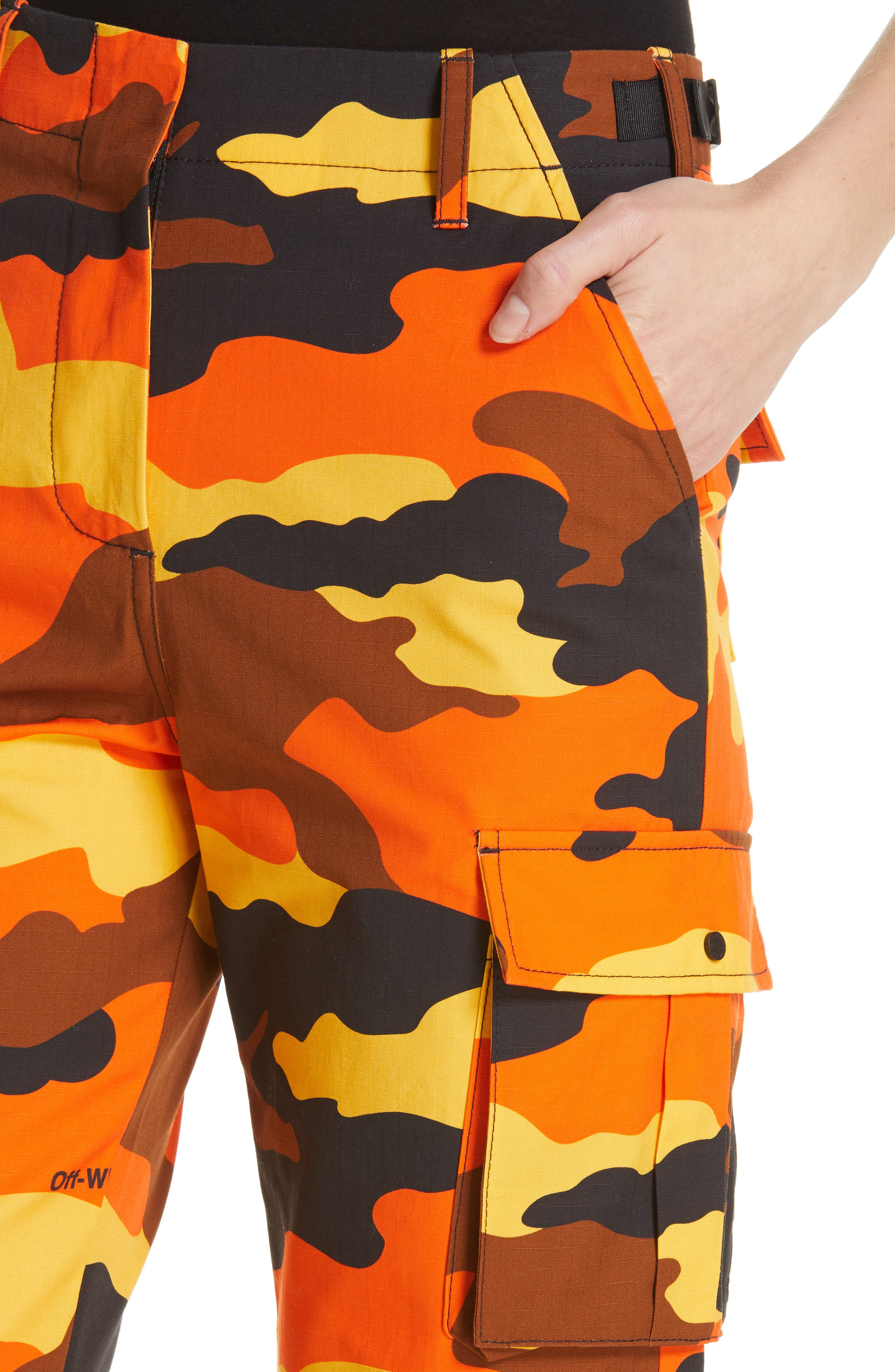 OFF-WHITE,                             Camo Cargo Pants,                             Alternate thumbnail 4, color,                             ALL OVER