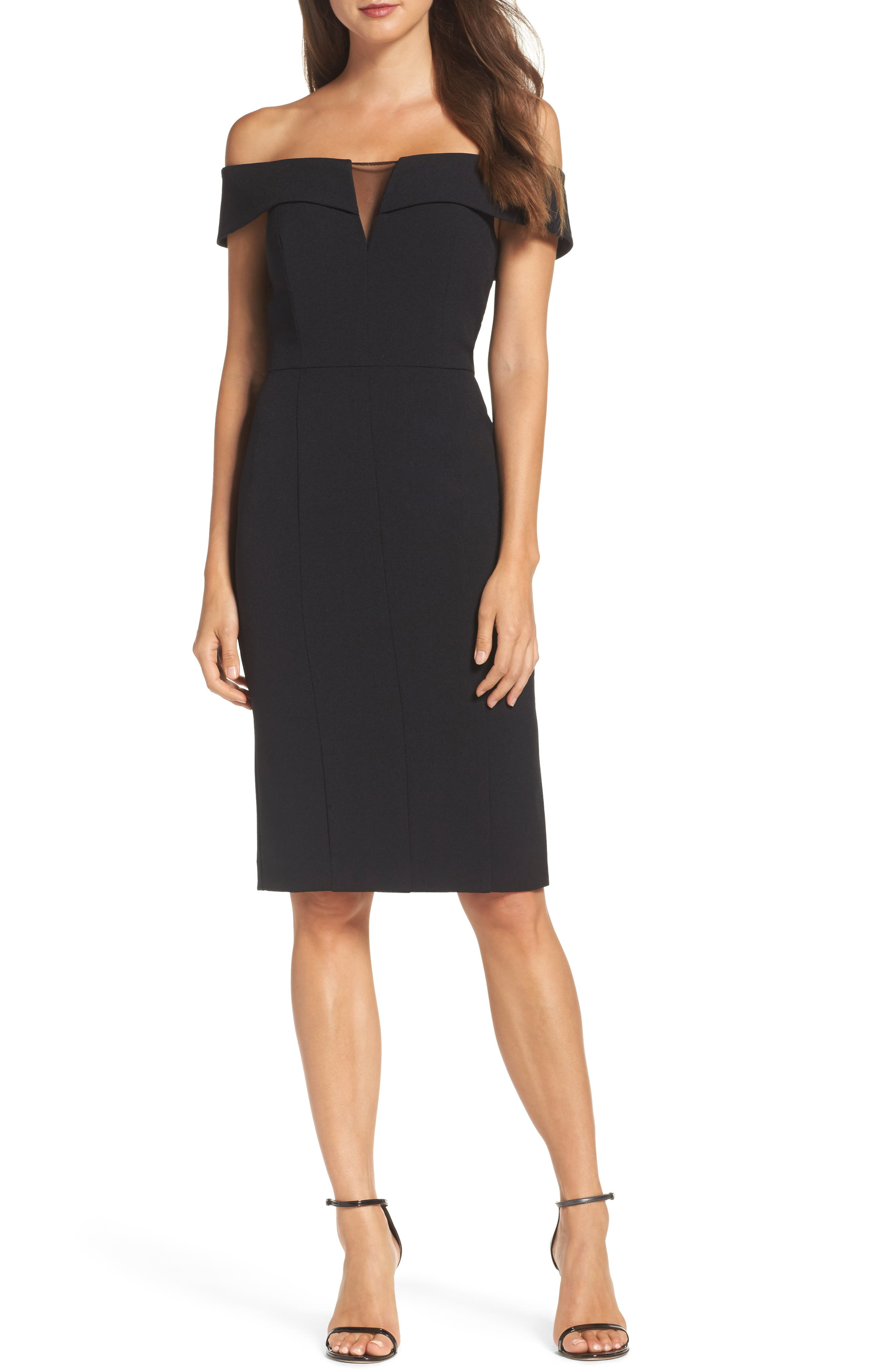 Off the Shoulder Crepe Sheath Dress,                             Main thumbnail 1, color,