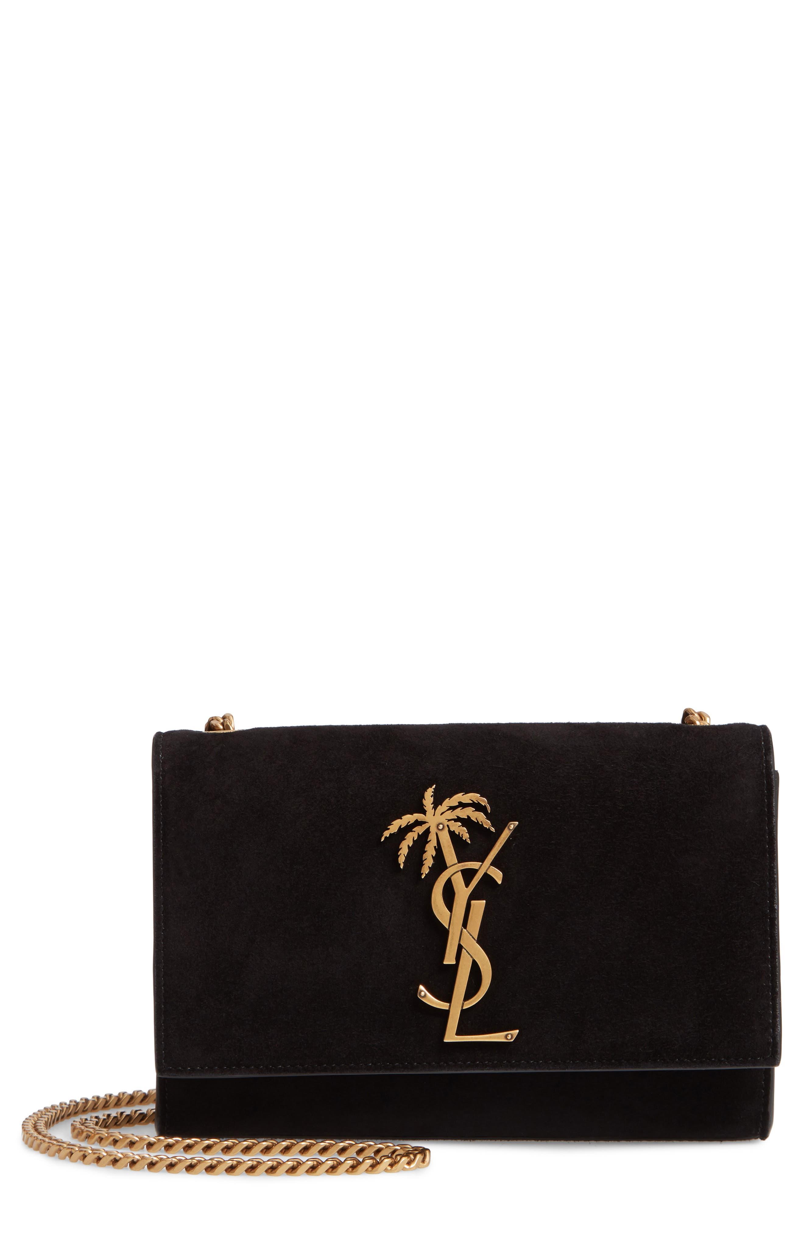 Saint Lauren Small Kate Suede Shoulder Bag,                         Main,                         color, 001