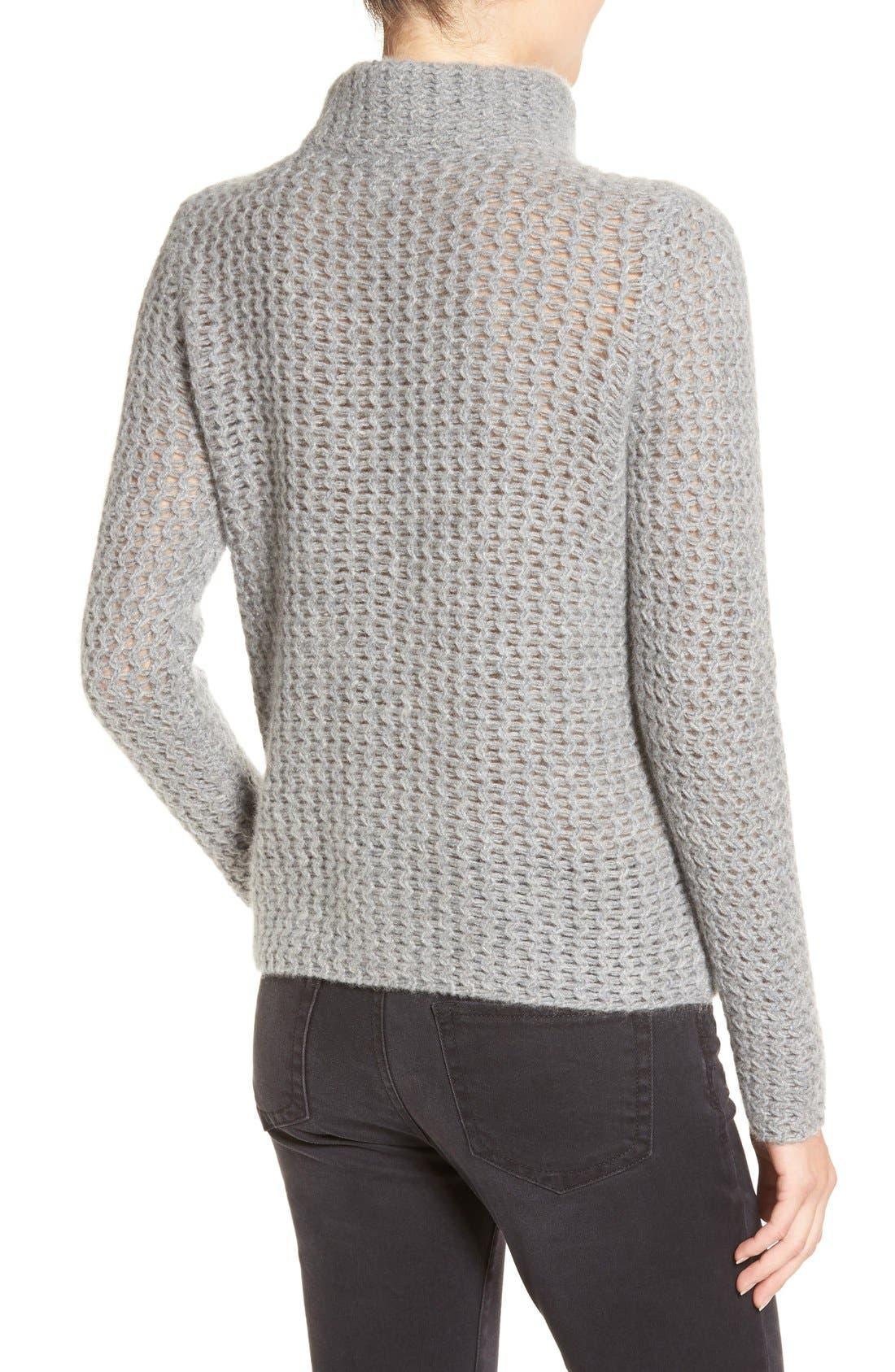 Stitch Detail Cashmere Mock Neck Sweater,                             Alternate thumbnail 3, color,                             030