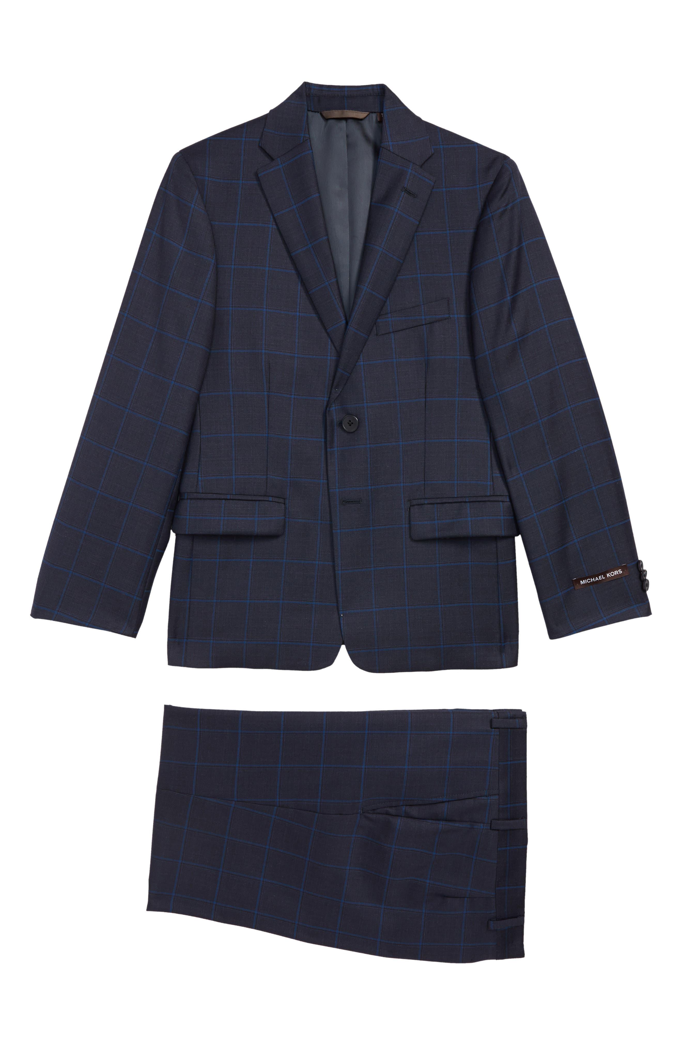 Two-Piece Plaid Wool Suit,                             Main thumbnail 1, color,                             BLUE
