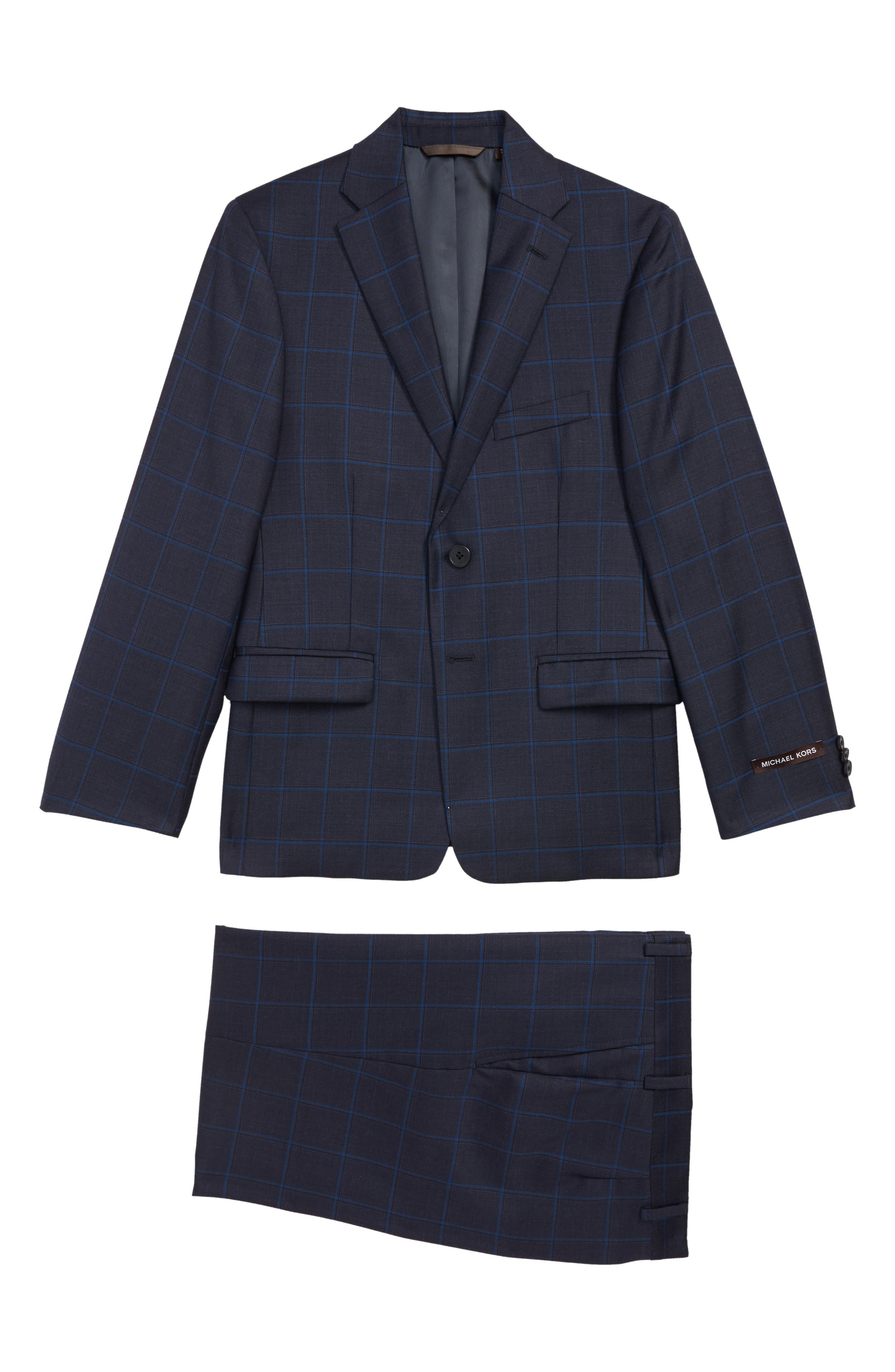 Two-Piece Plaid Wool Suit,                         Main,                         color, BLUE