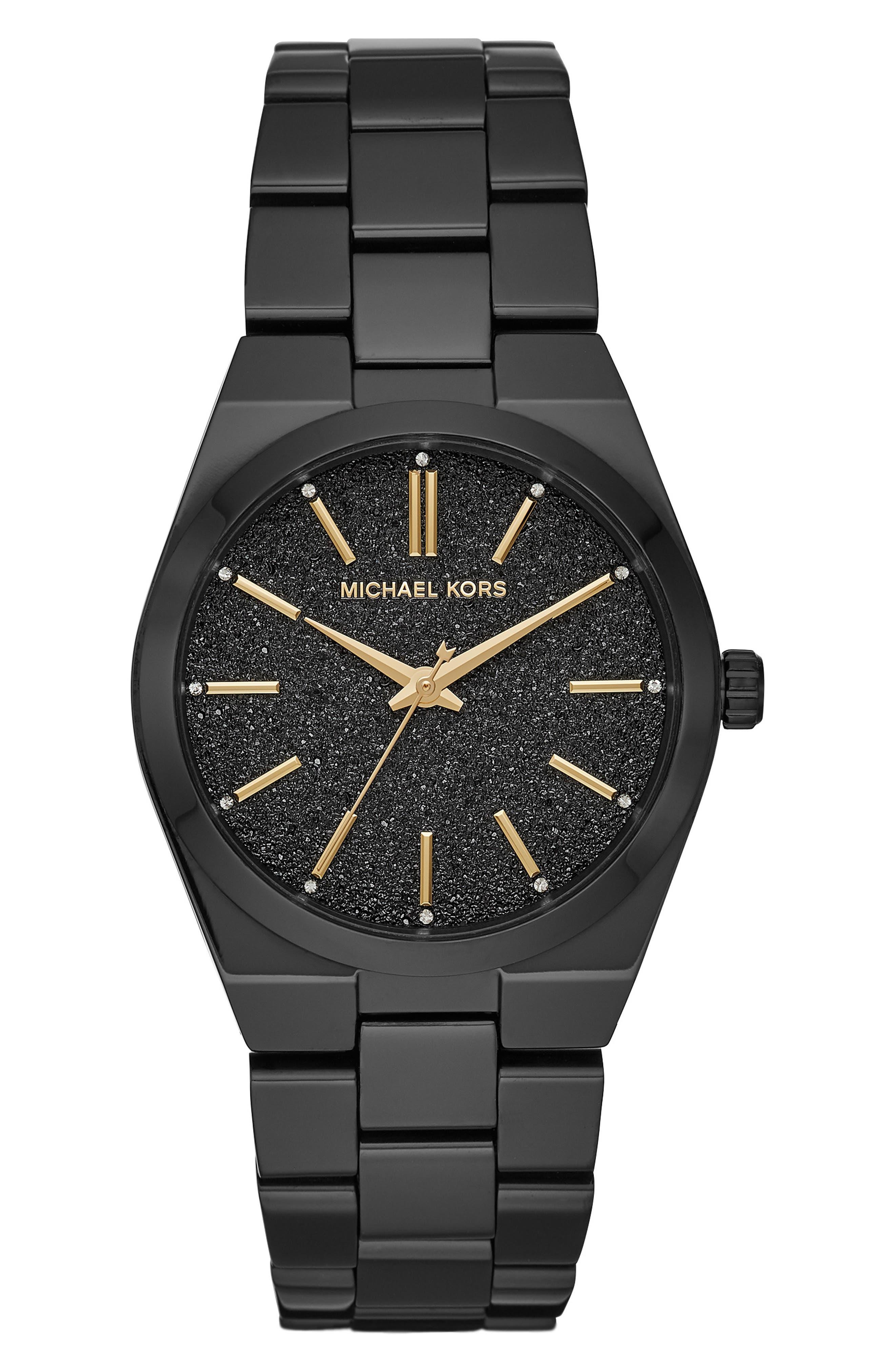 MICHAEL KORS,                             Channing Bracelet Watch, 36mm,                             Main thumbnail 1, color,                             BLACK