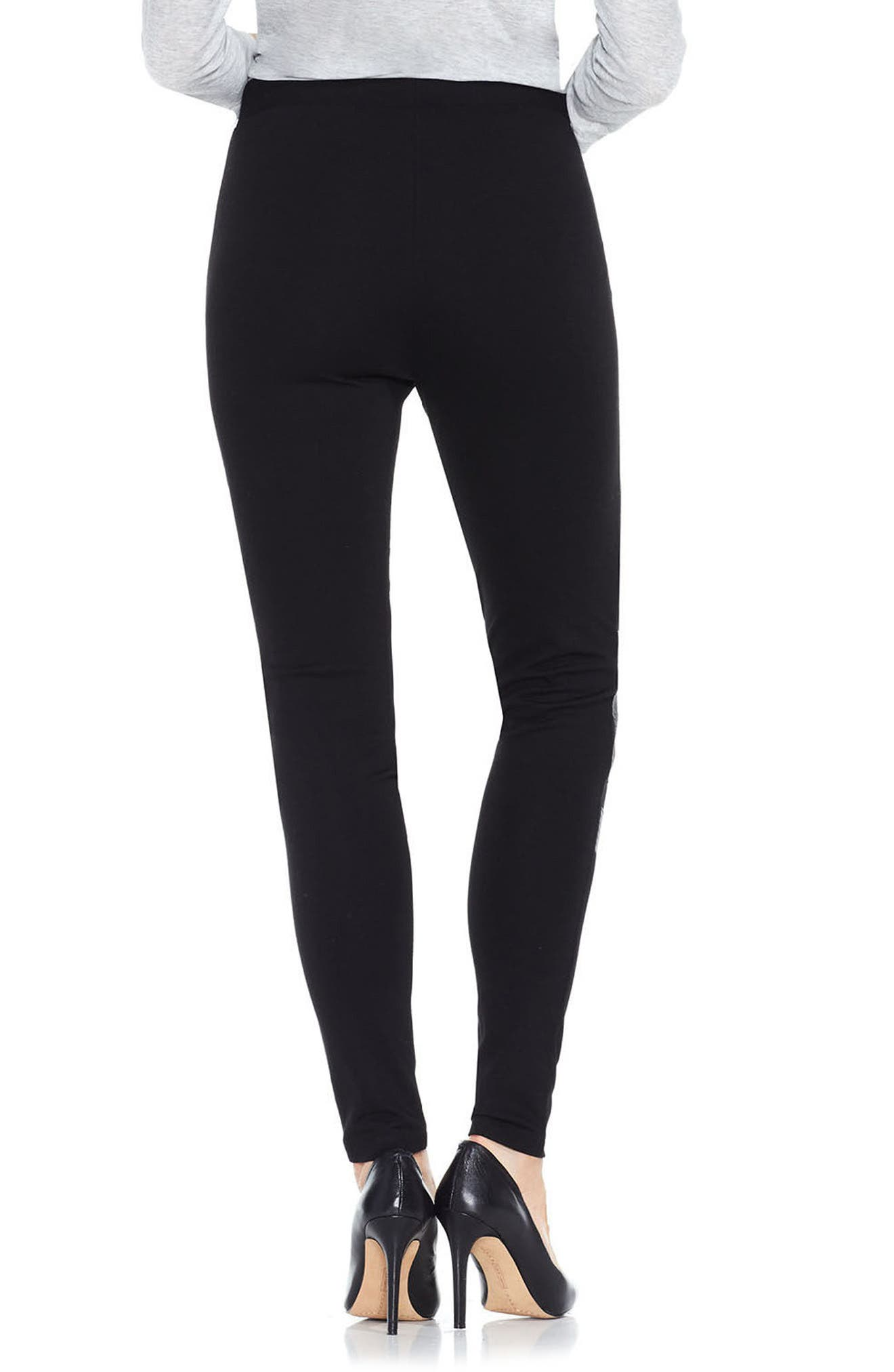 Faux Leather & Ponte Leggings,                             Alternate thumbnail 2, color,