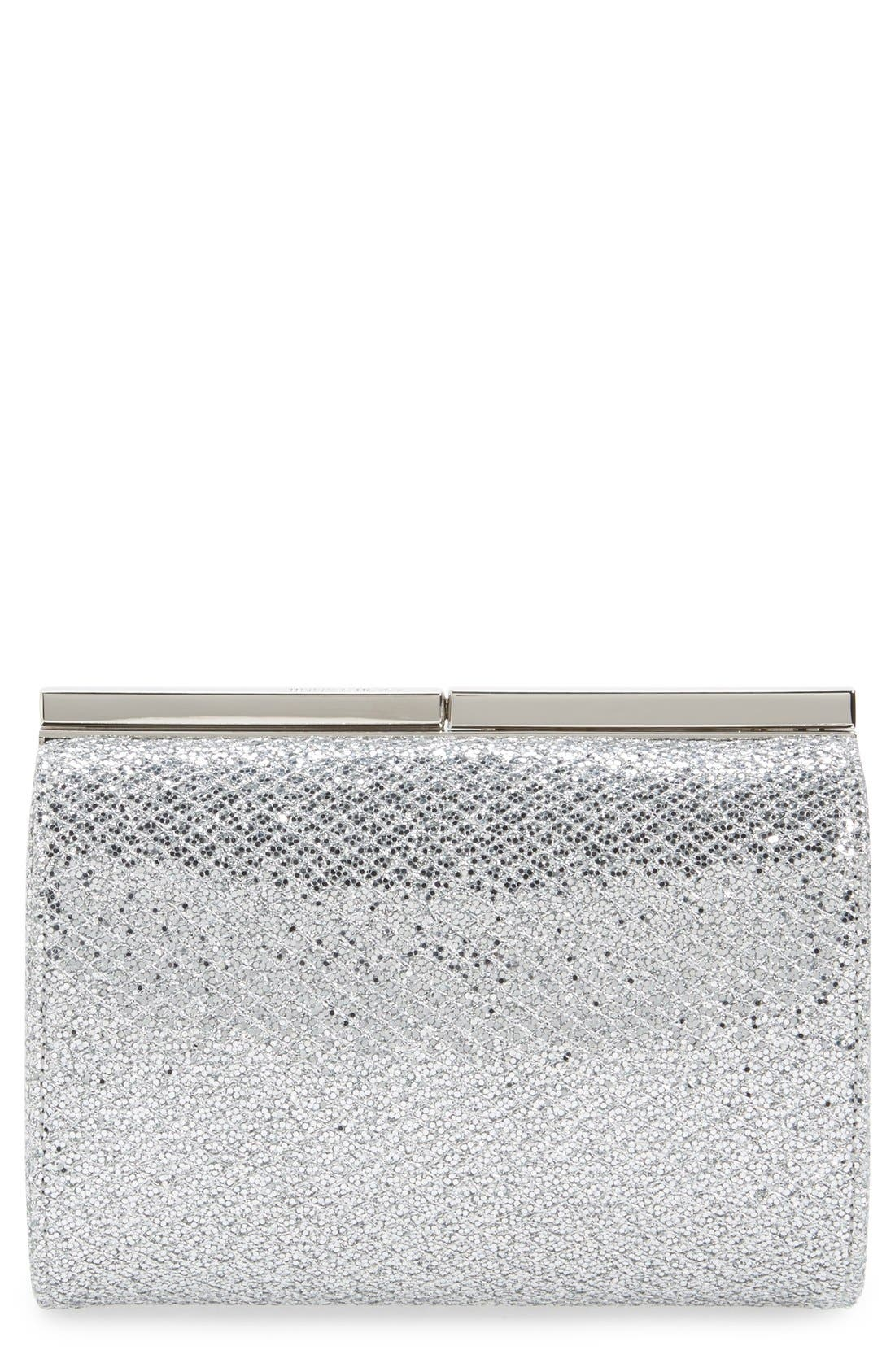 'Cate' Glitter Box Clutch,                         Main,                         color, 040