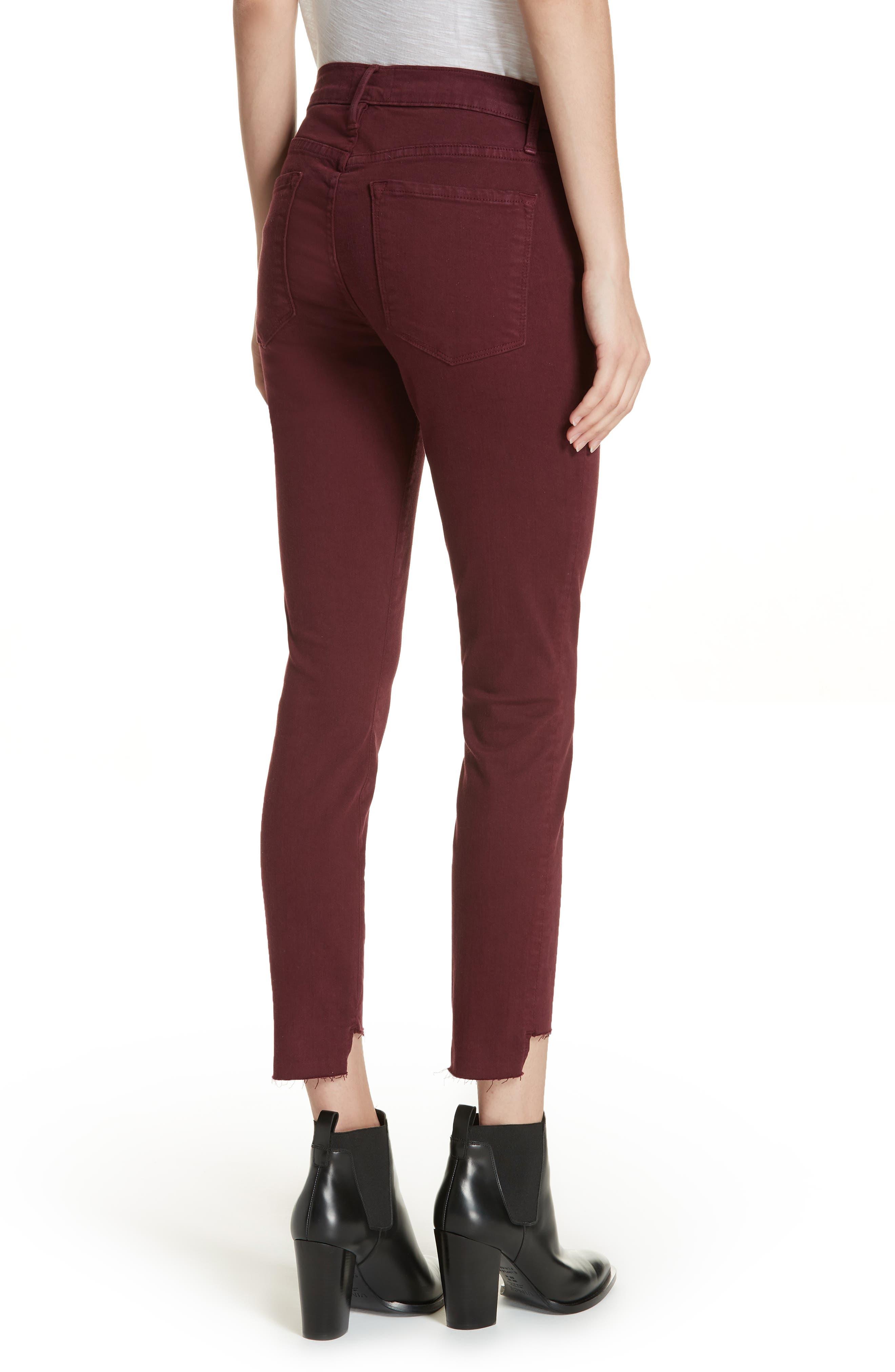 Le Skinny de Jeanne Raw Stagger Hem Jeans,                             Alternate thumbnail 2, color,                             PINOT