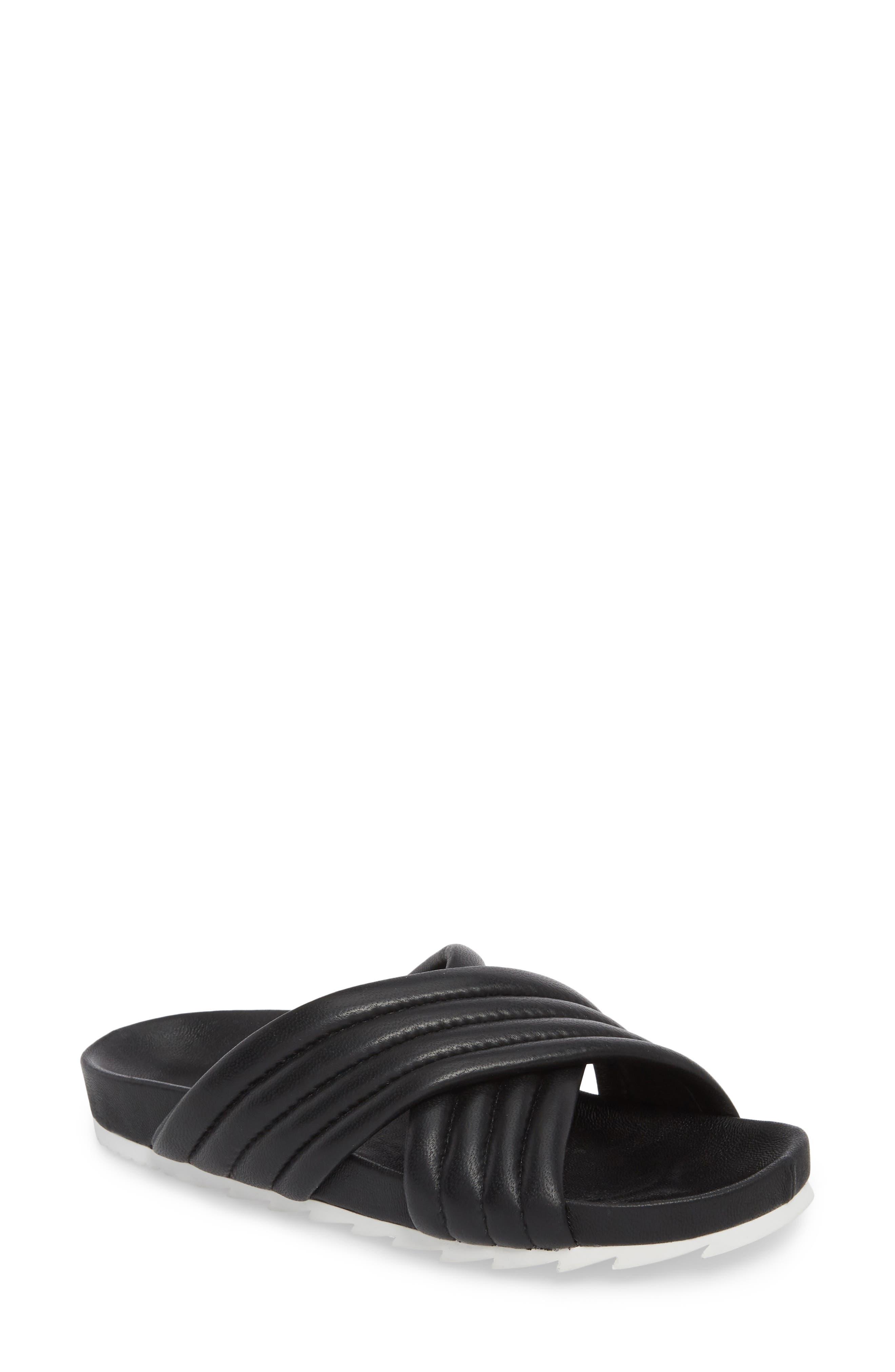 Easy Slide Sandal,                             Main thumbnail 1, color,                             BLACK LEATHER