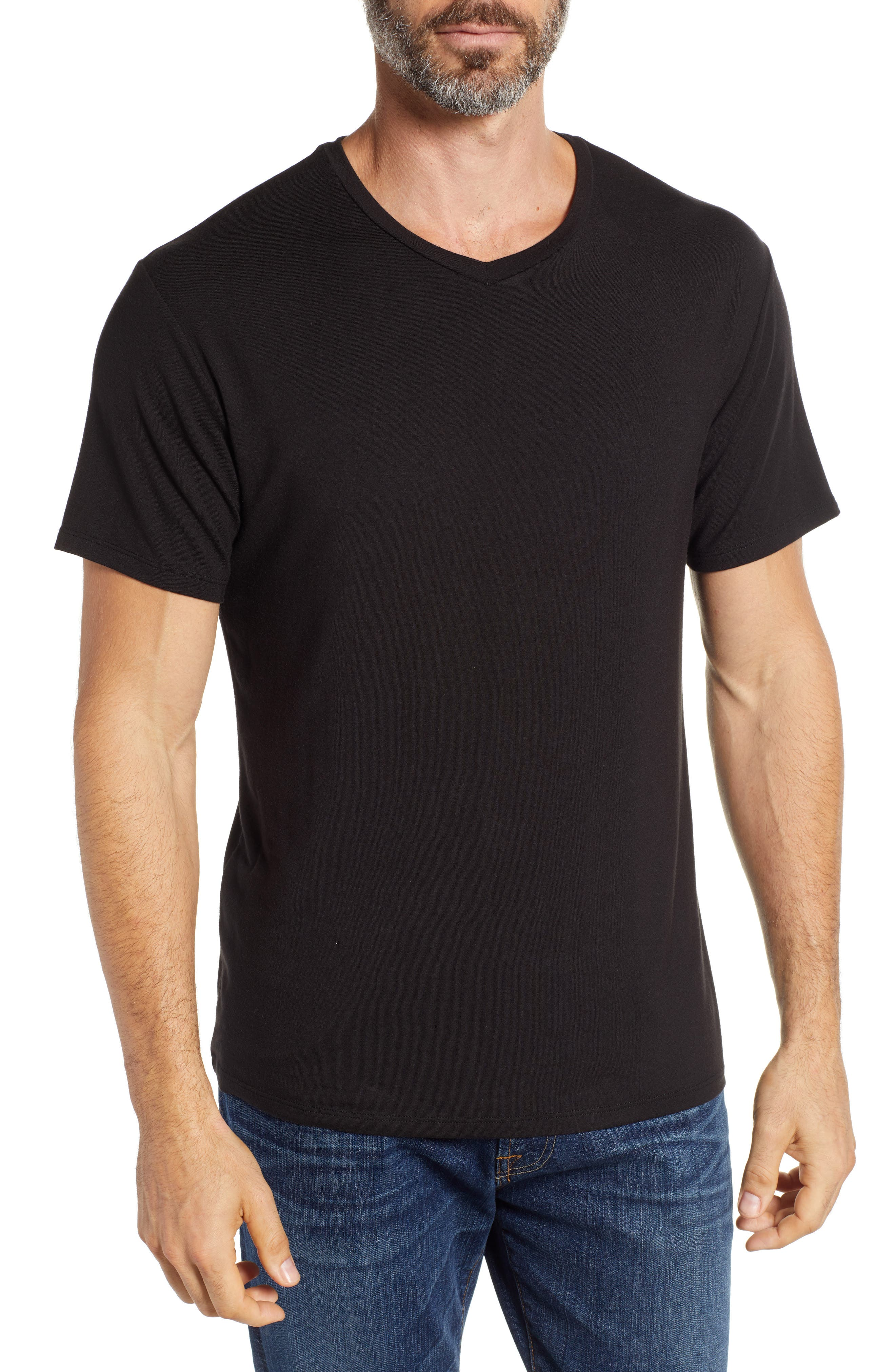 V-Neck Modal T-Shirt,                         Main,                         color, BLACK