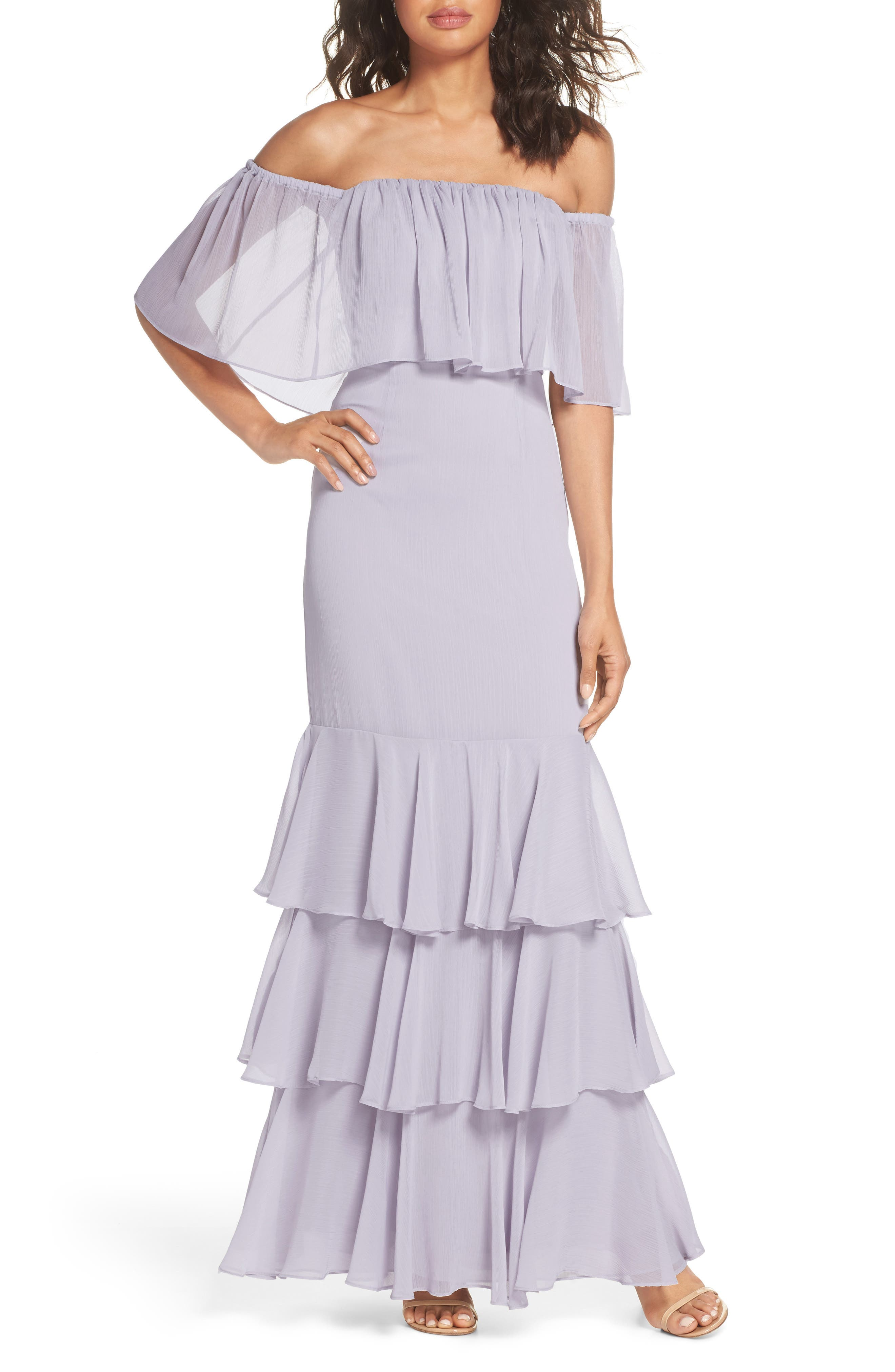Penelope Off the Shoulder Popover Gown,                             Main thumbnail 1, color,                             020