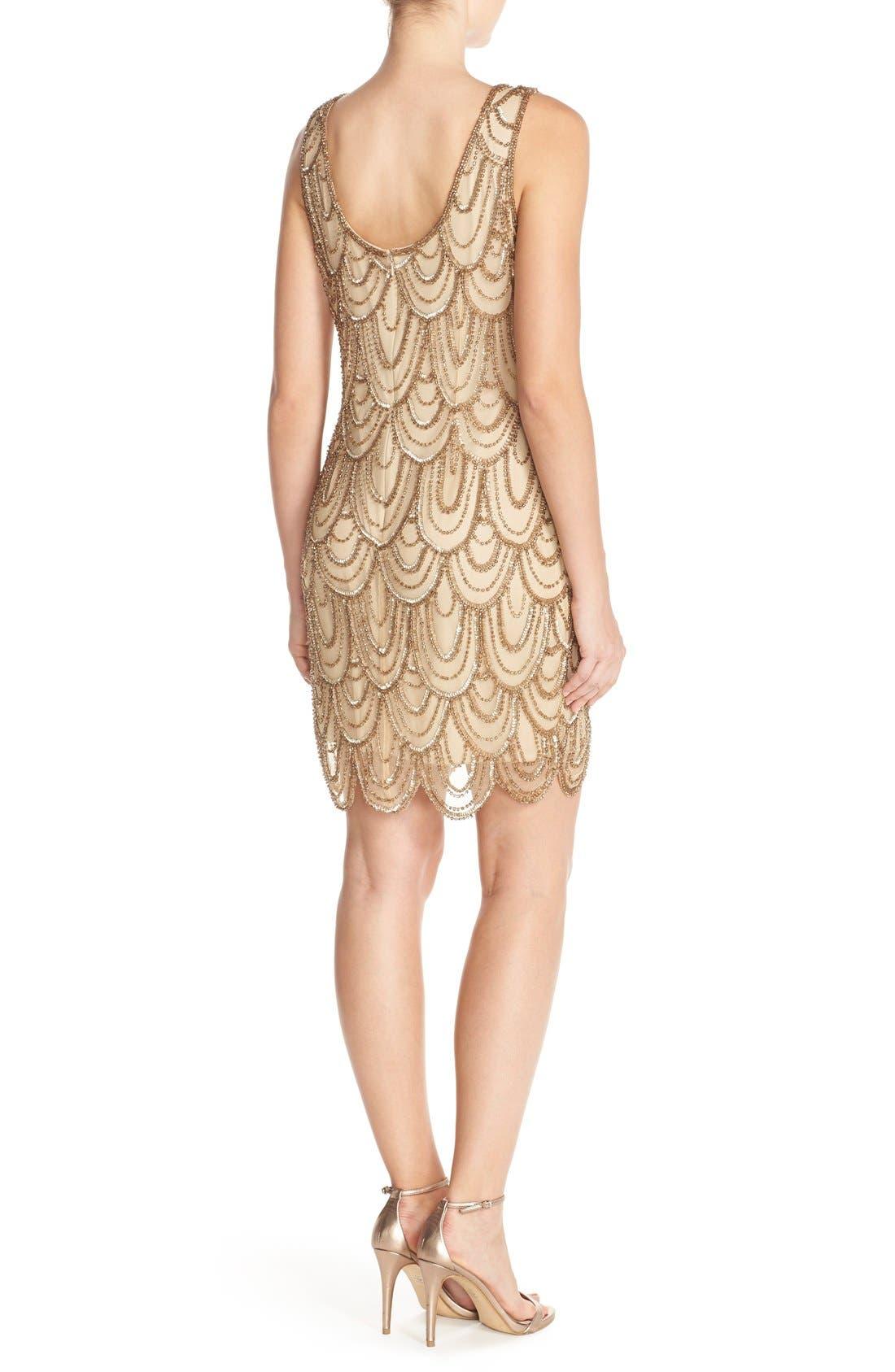 Embellished Mesh Sheath Dress,                             Alternate thumbnail 110, color,