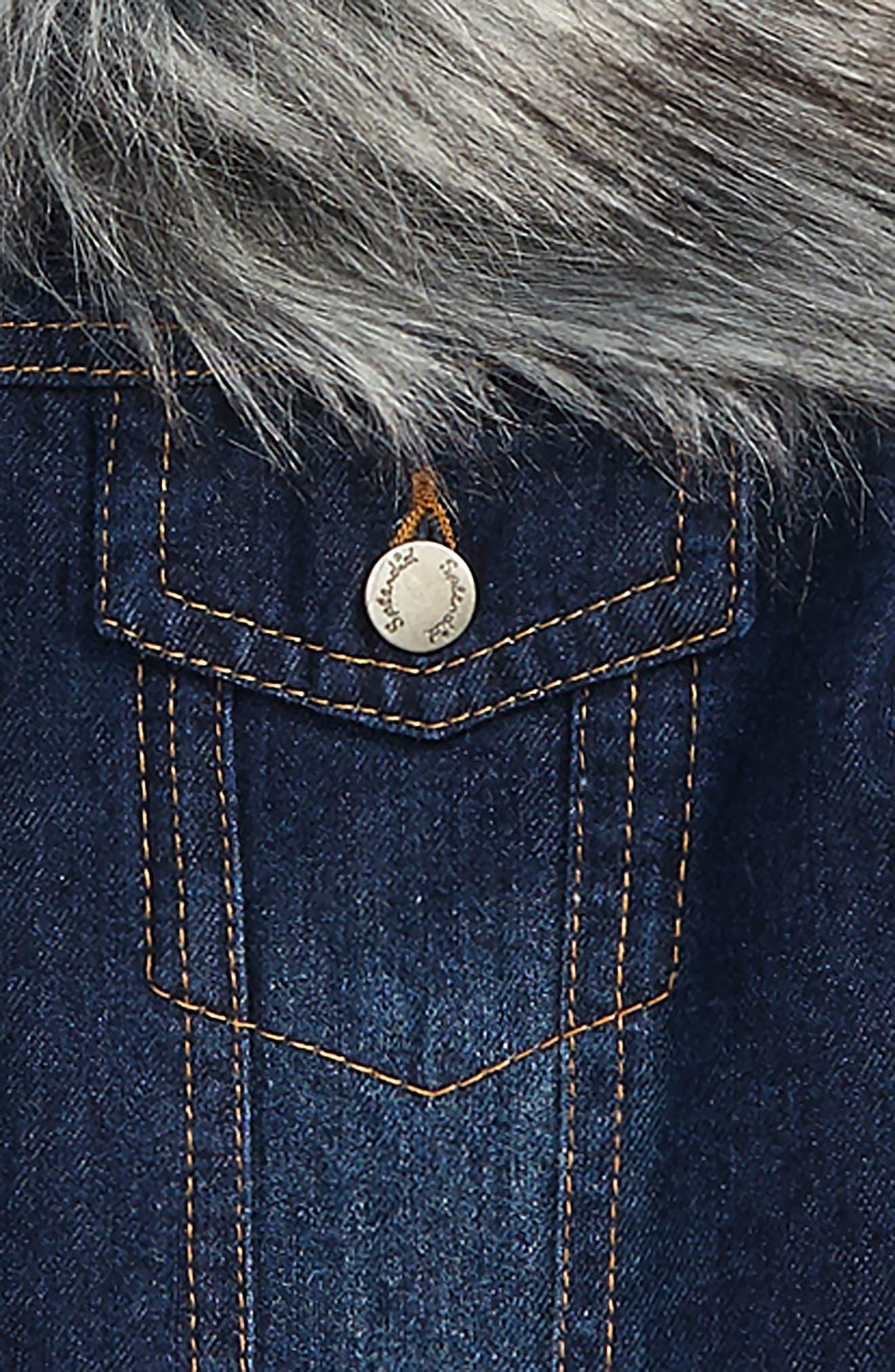 Faux Fur Collar Denim Jacket,                             Alternate thumbnail 2, color,                             MEDIUM STONE