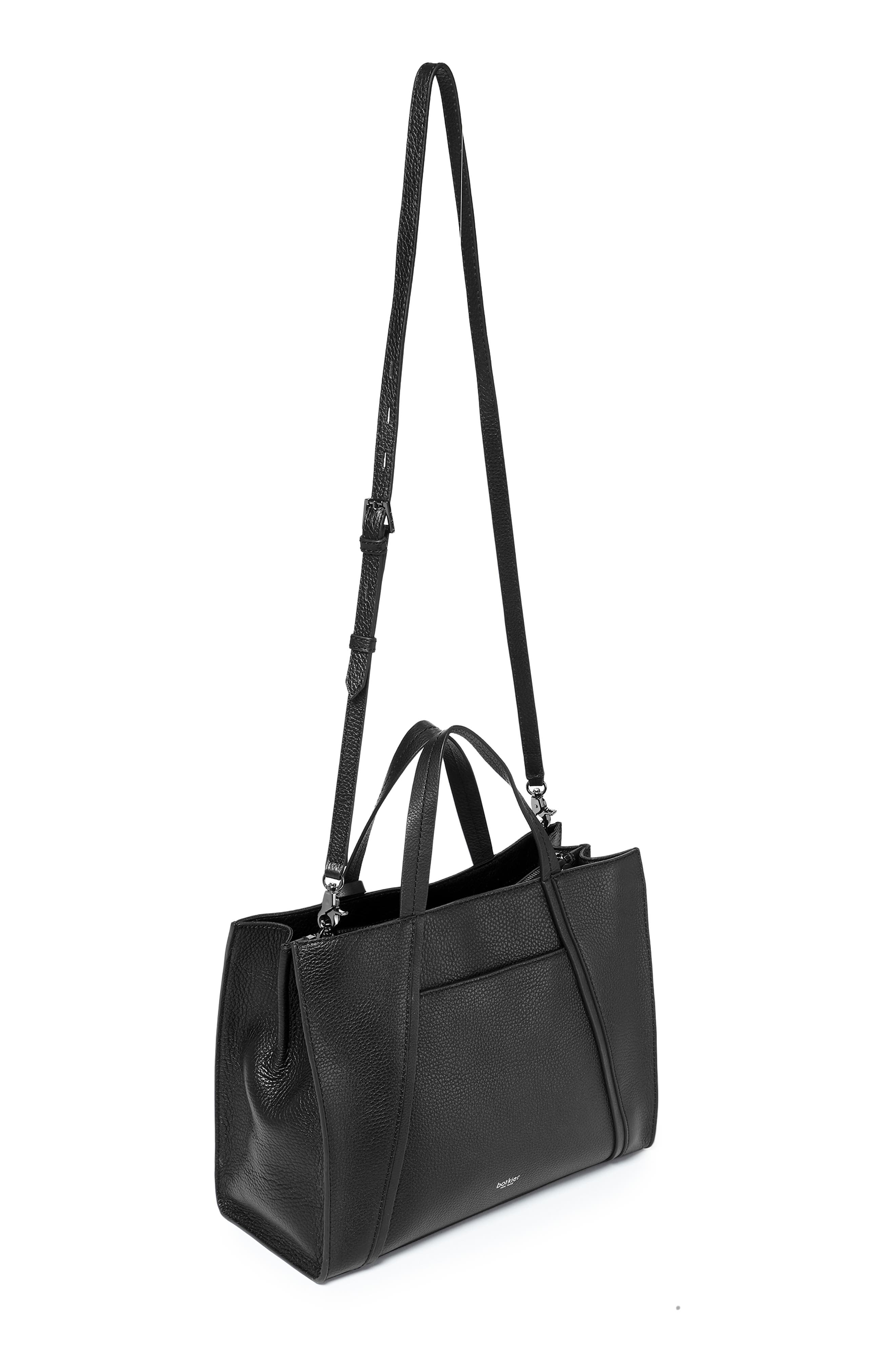 Trinity Leather Satchel,                             Alternate thumbnail 3, color,                             BLACK