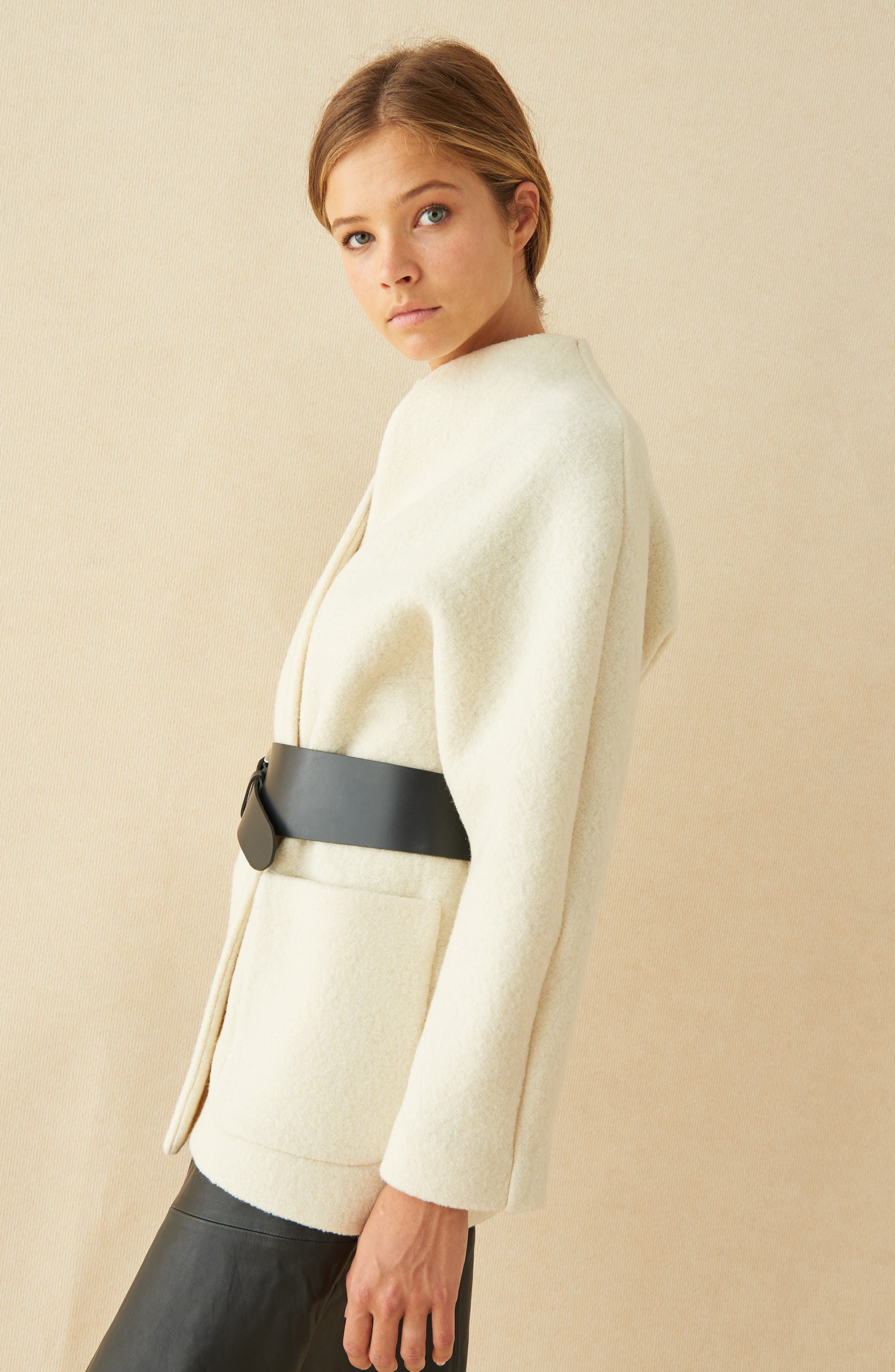 Clif Belted Wool Coat,                             Alternate thumbnail 8, color,                             ECRU