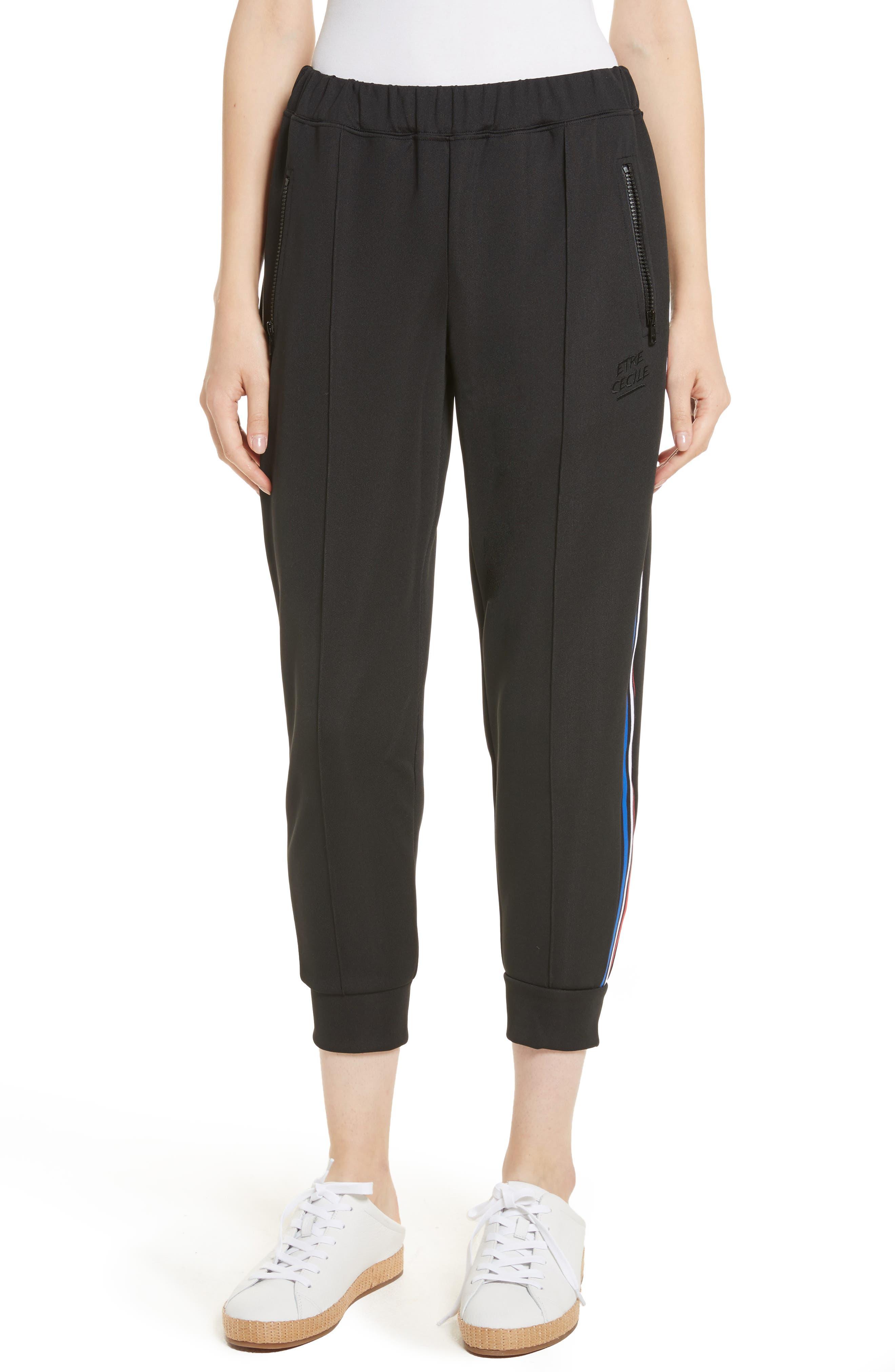 être cécile Stripe Crop Track Pants,                         Main,                         color, 001