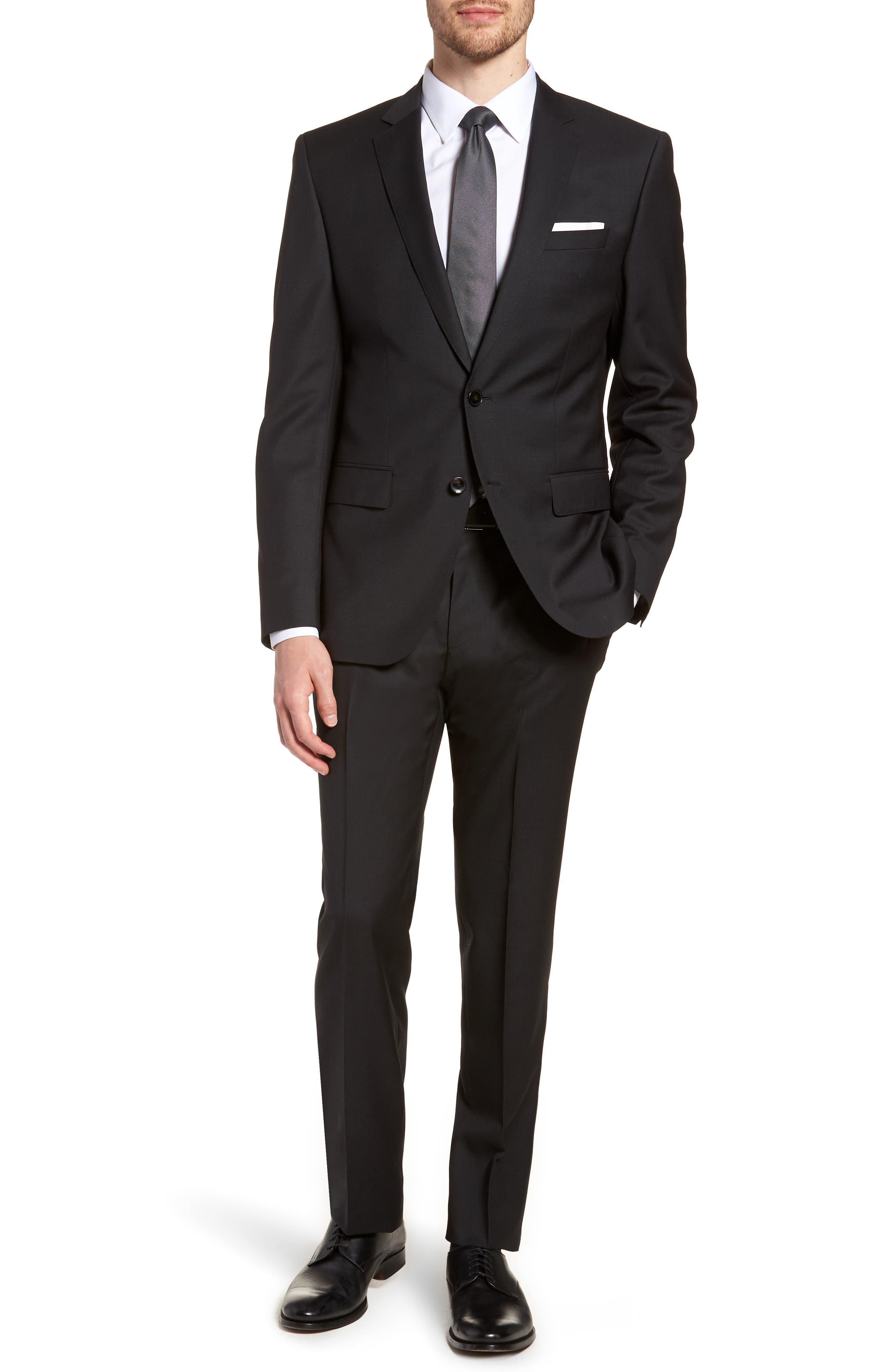'Huge/Genius' Trim Fit Solid Wool Suit,                             Main thumbnail 1, color,                             BLACK
