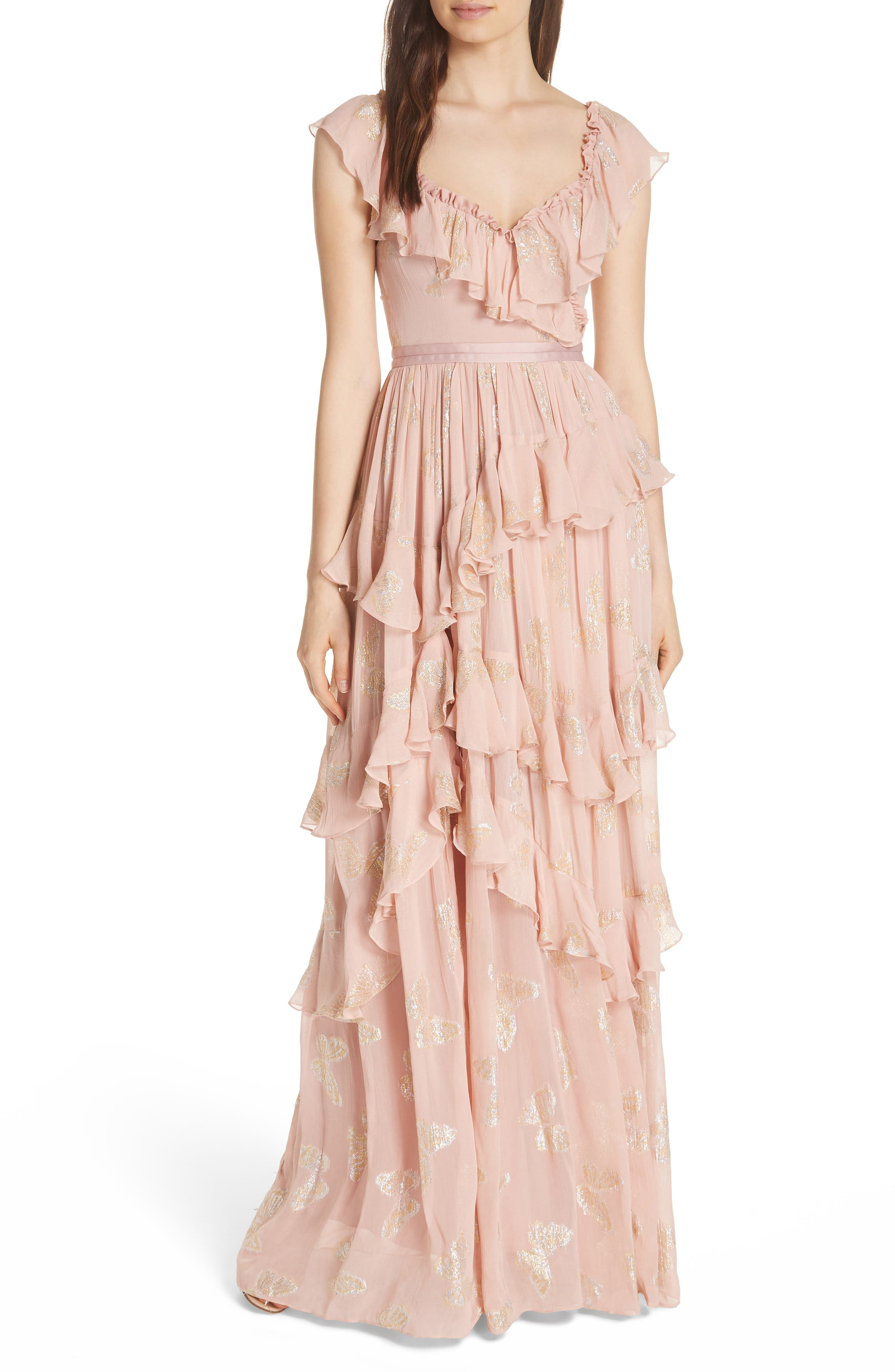 Needle & Thread Ruffled Lurex Butterfly Gown, Pink