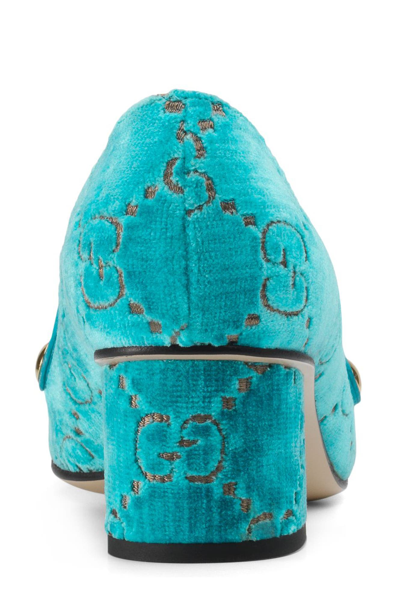 GUCCI,                             Sylvie Loafer Pump,                             Alternate thumbnail 2, color,                             TURQUOISE