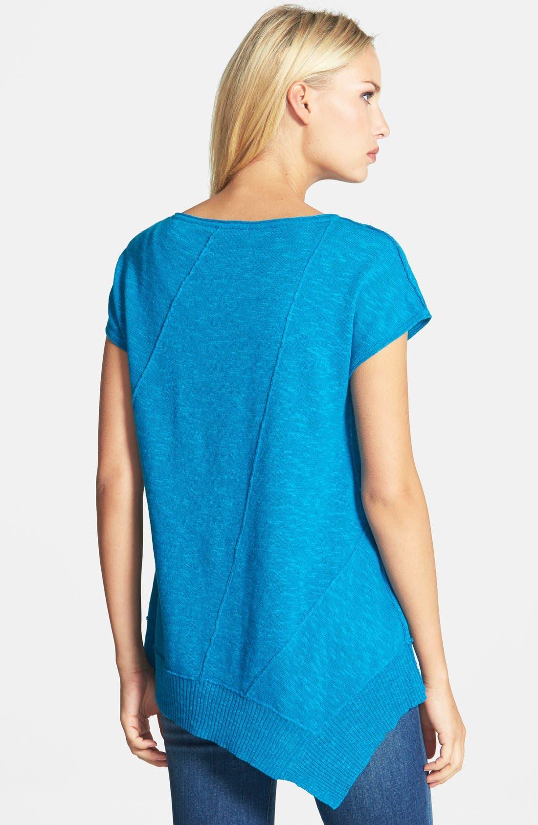 Cap Sleeve Organic Linen & Cotton Scoop Neck Top,                             Alternate thumbnail 49, color,