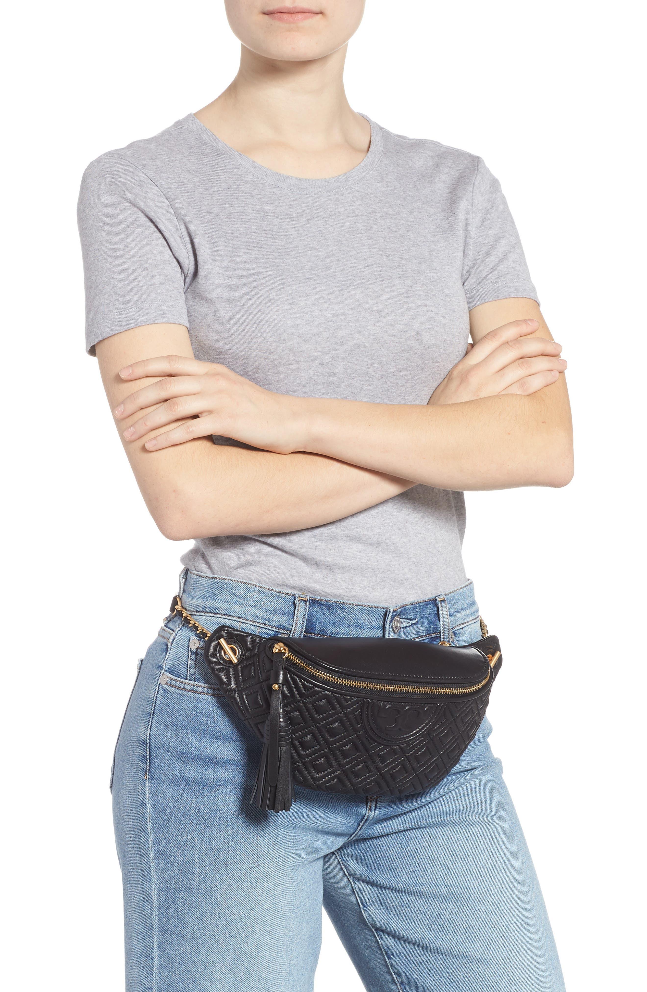 Fleming Quilted Leather Belt Bag,                             Alternate thumbnail 2, color,                             BLACK