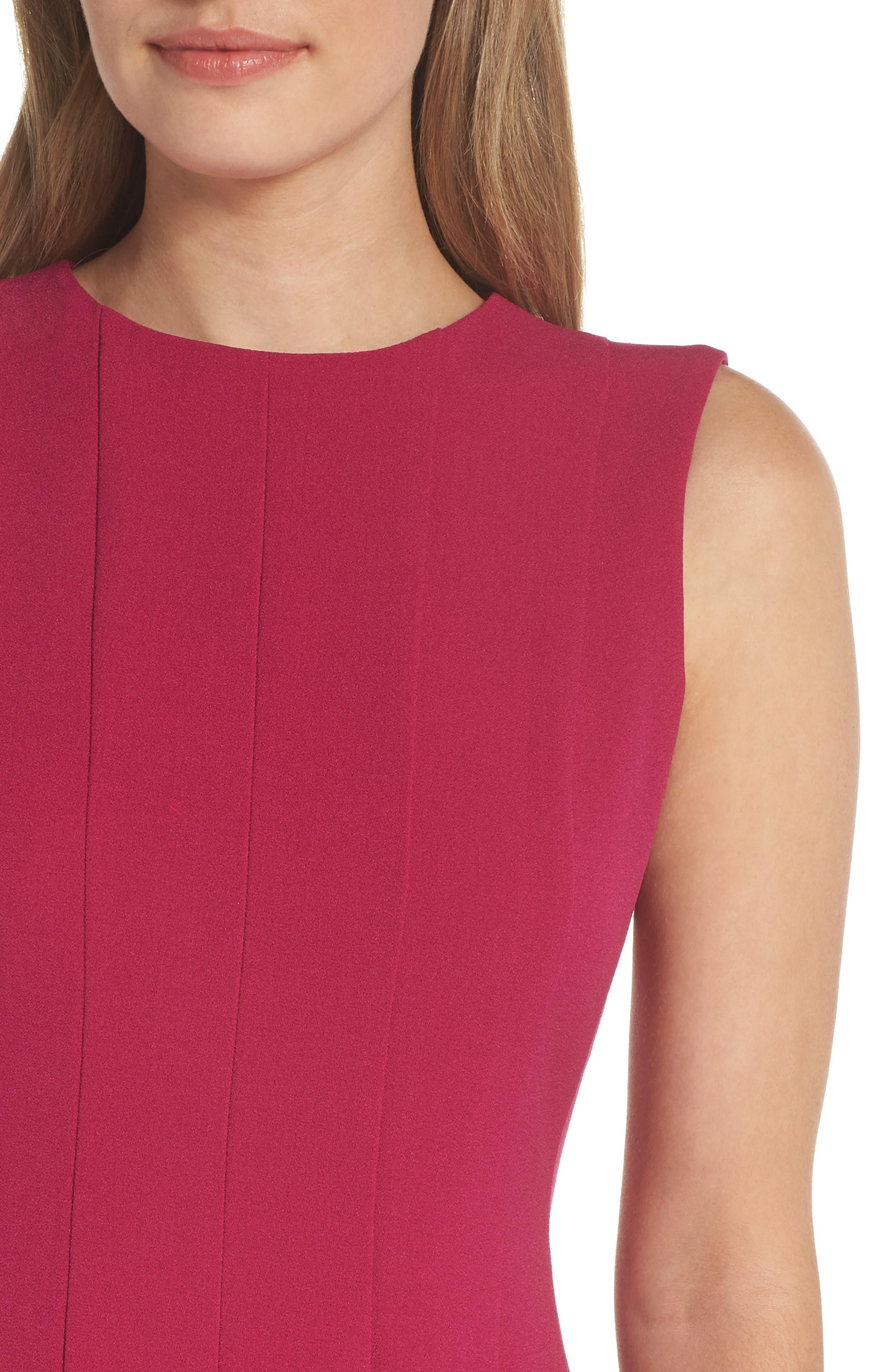 Sleeveless Pleat Panel Fit & Flare Dress,                             Alternate thumbnail 4, color,                             FUCHSIA