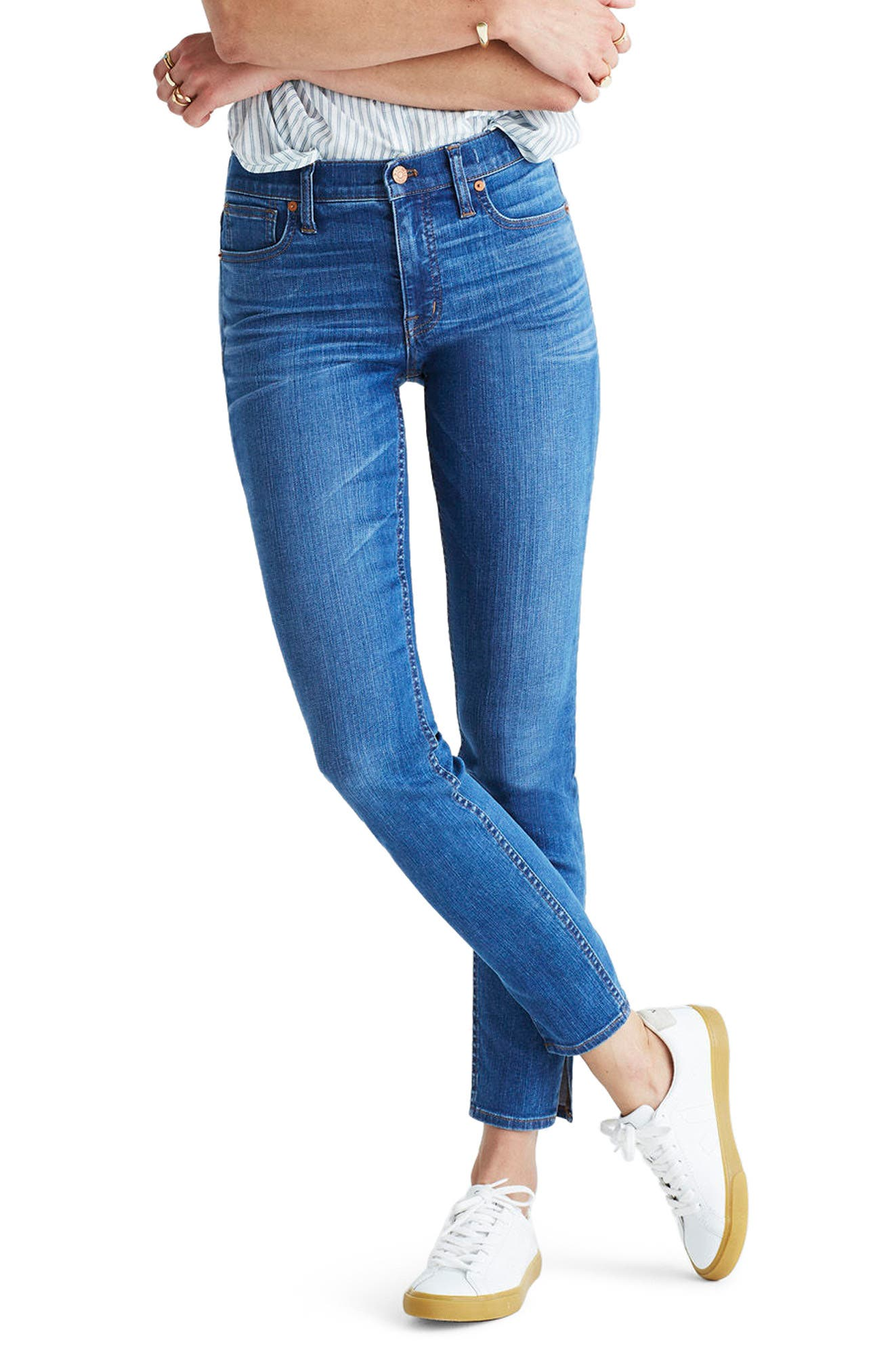 MADEWELL 9-Inch High-Rise Skinny Jeans: Side-Slit Edition, Main, color, 400