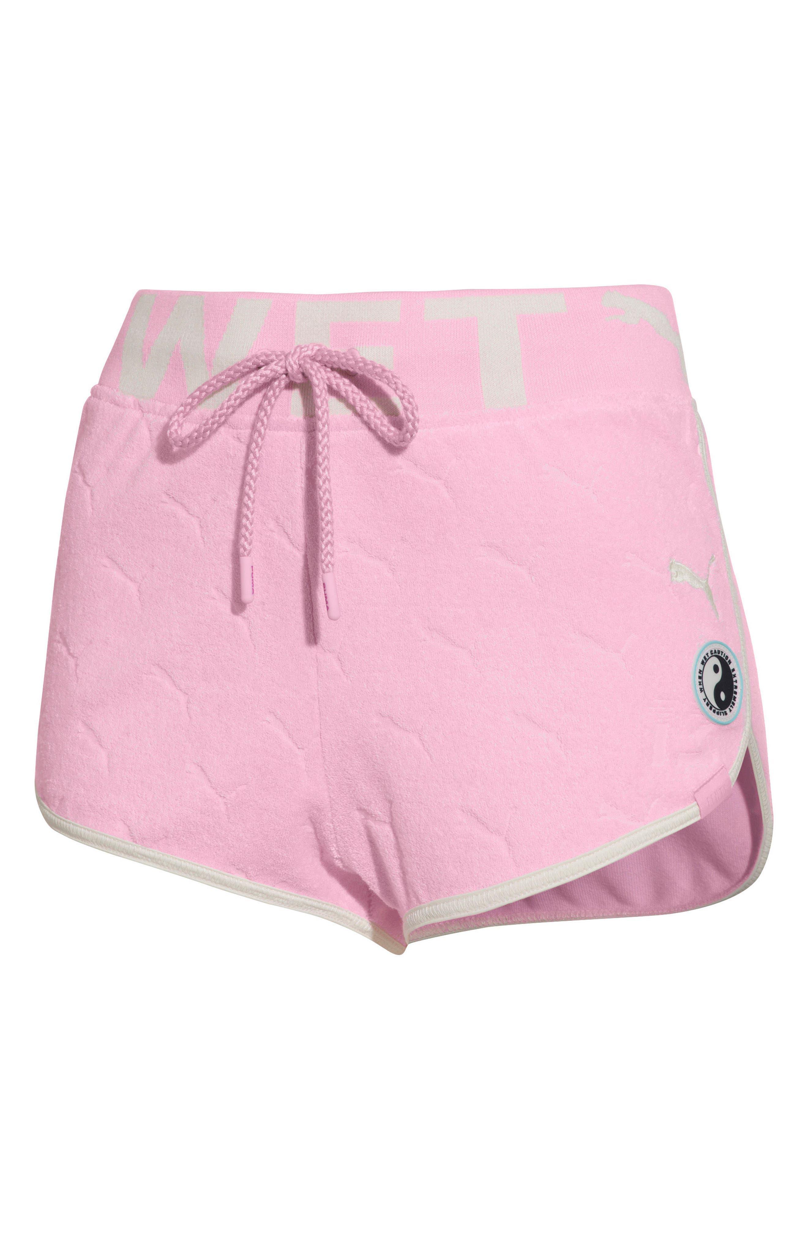 PUMA by Rihanna Terry Cloth Dolphin Shorts,                             Main thumbnail 1, color,