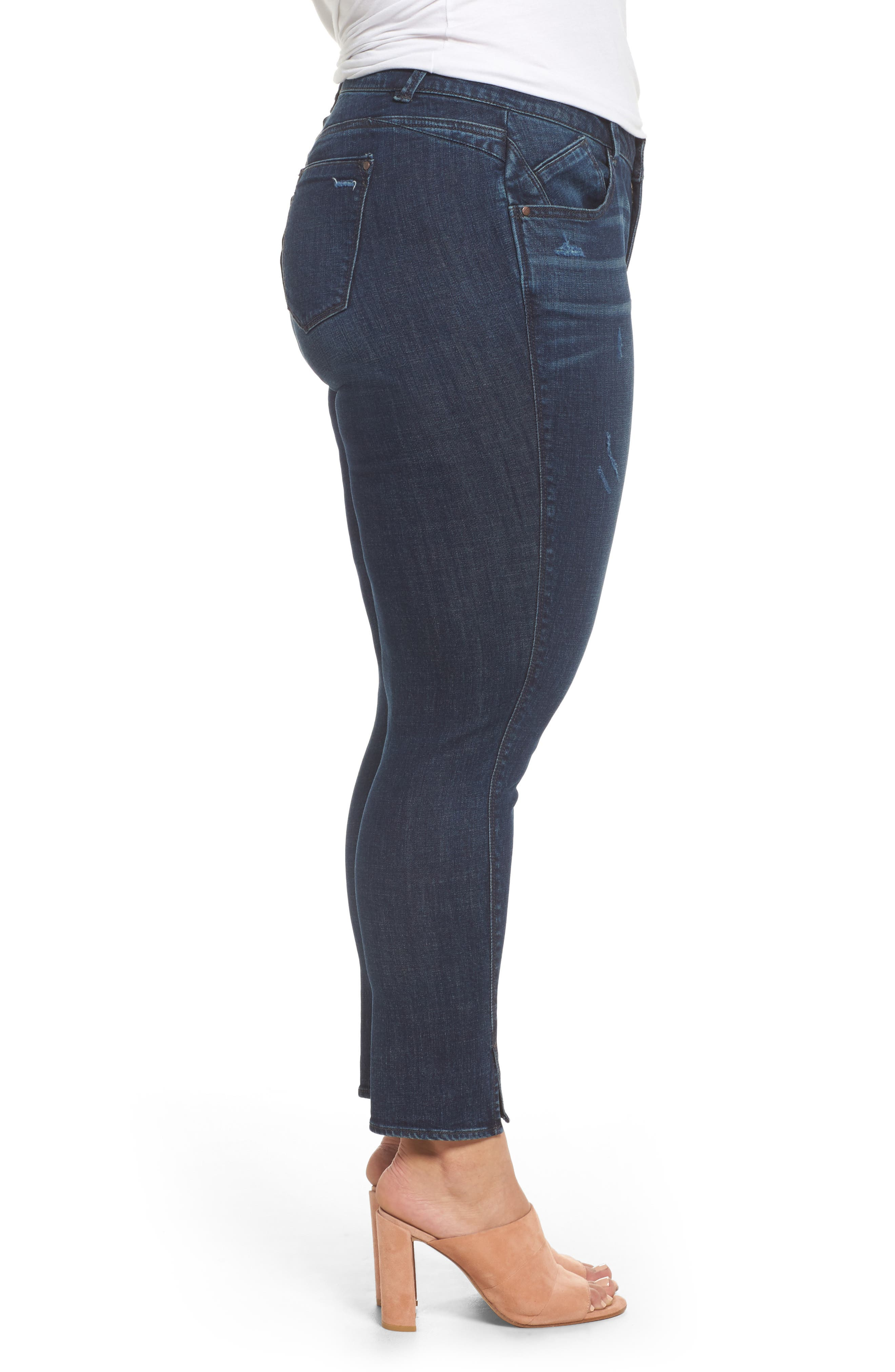 Twisted Seam Ankle Skimmer Jeans,                             Alternate thumbnail 3, color,                             402