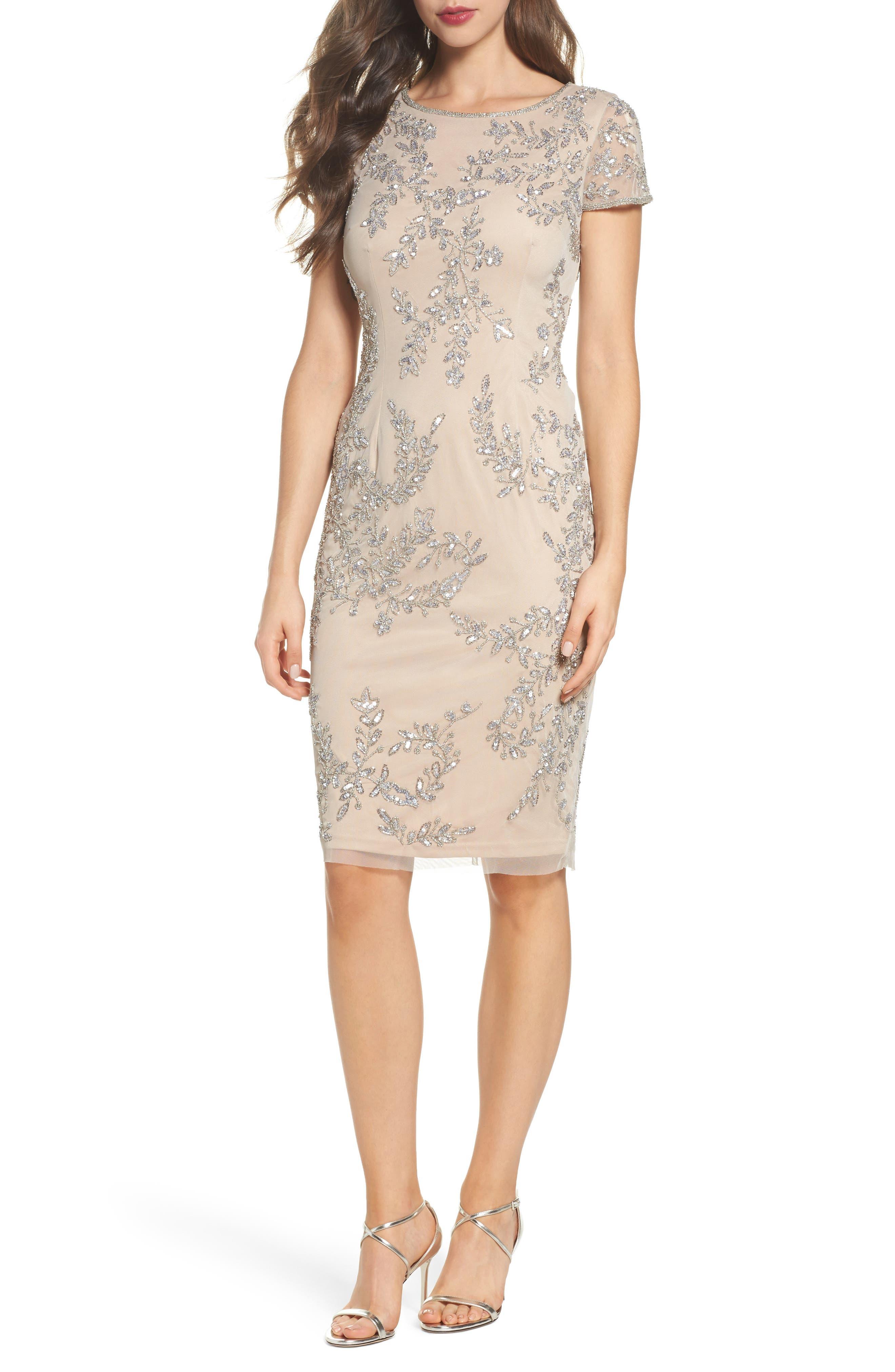 Beaded Sheath Dress,                             Main thumbnail 1, color,                             259