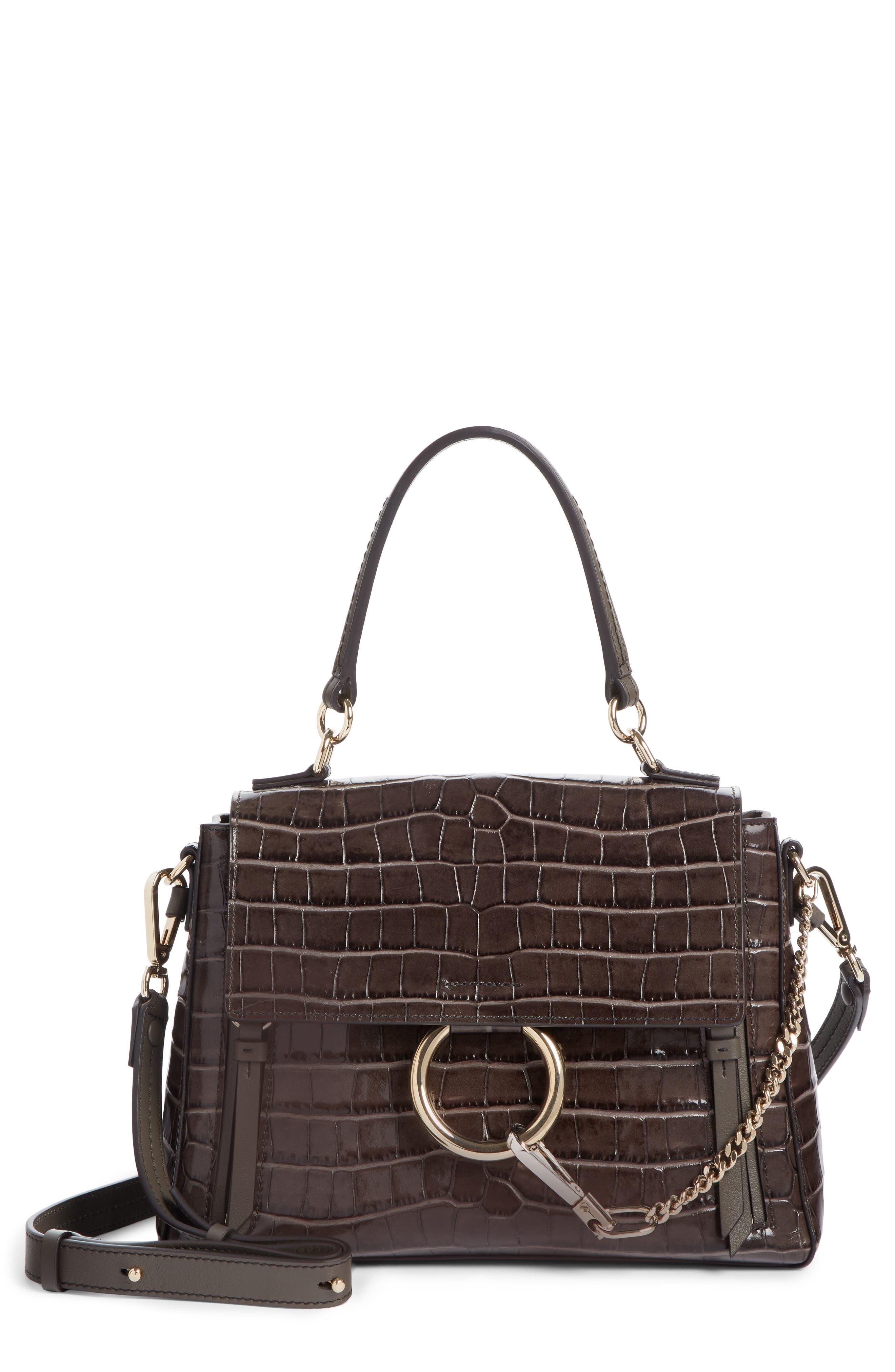 Medium Faye Day Croc Embossed Leather Shoulder Bag, Main, color, AUTUMNAL BROWN