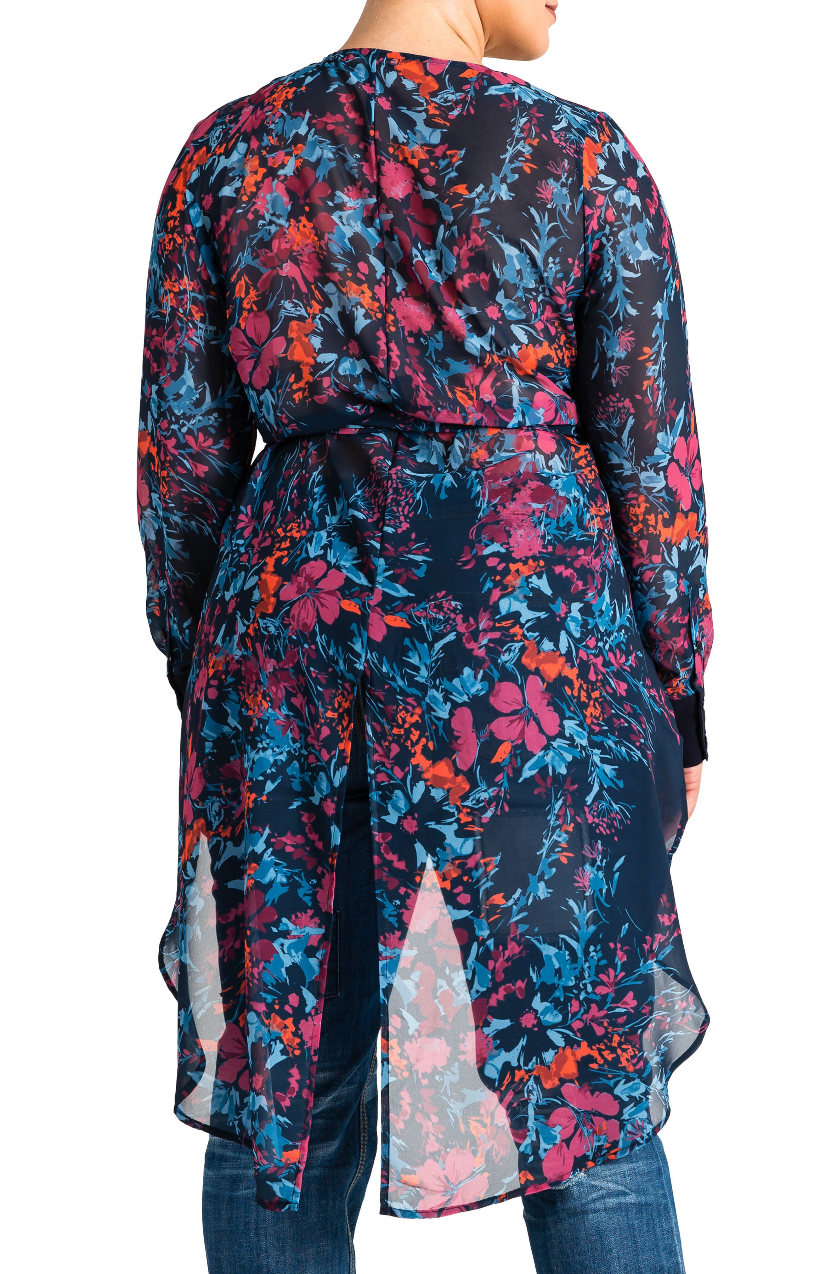 Haliyah High/Low Wrap Top,                             Alternate thumbnail 2, color,                             FLORAL PRINT