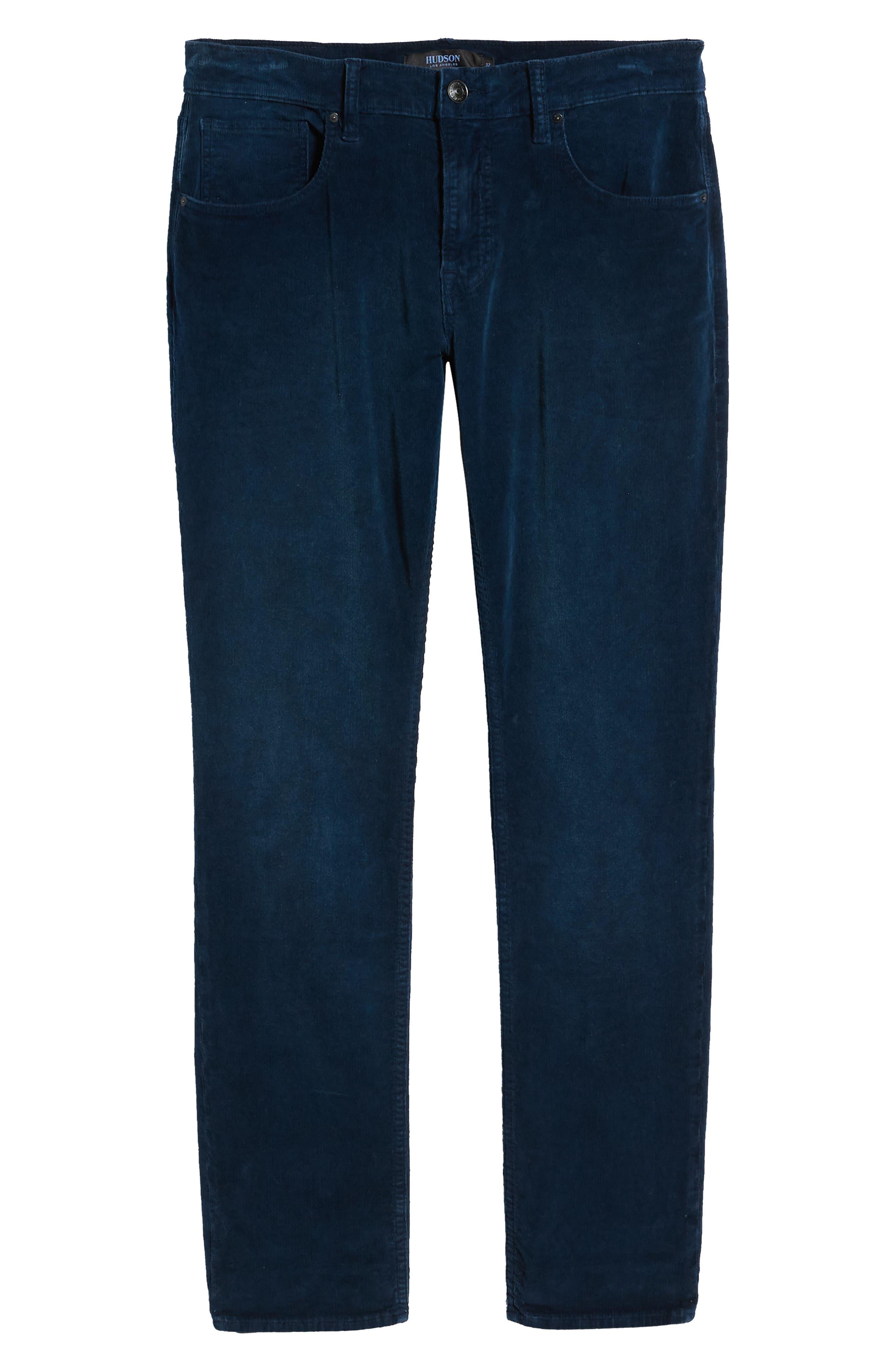 Blake Slim Fit Straight Leg Corduroy Pants,                             Alternate thumbnail 6, color,                             BLACK