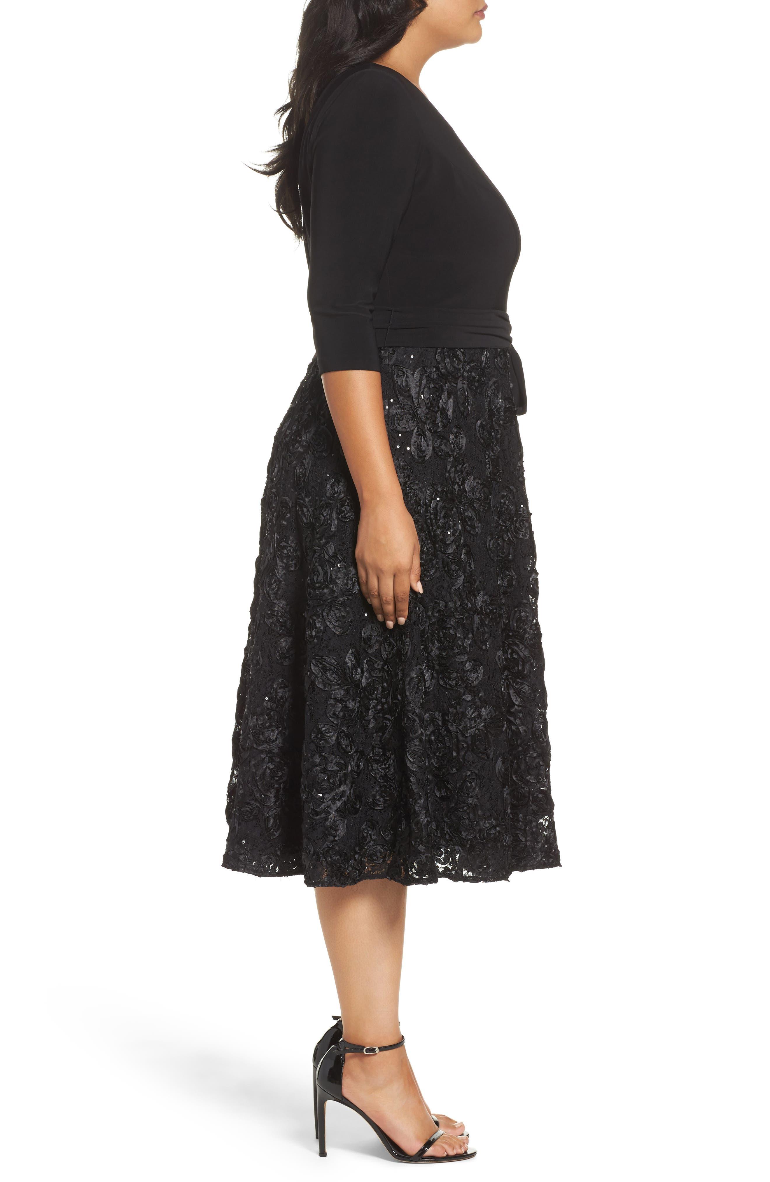 Tea Length Jersey & Rosette Lace Dress,                             Alternate thumbnail 5, color,