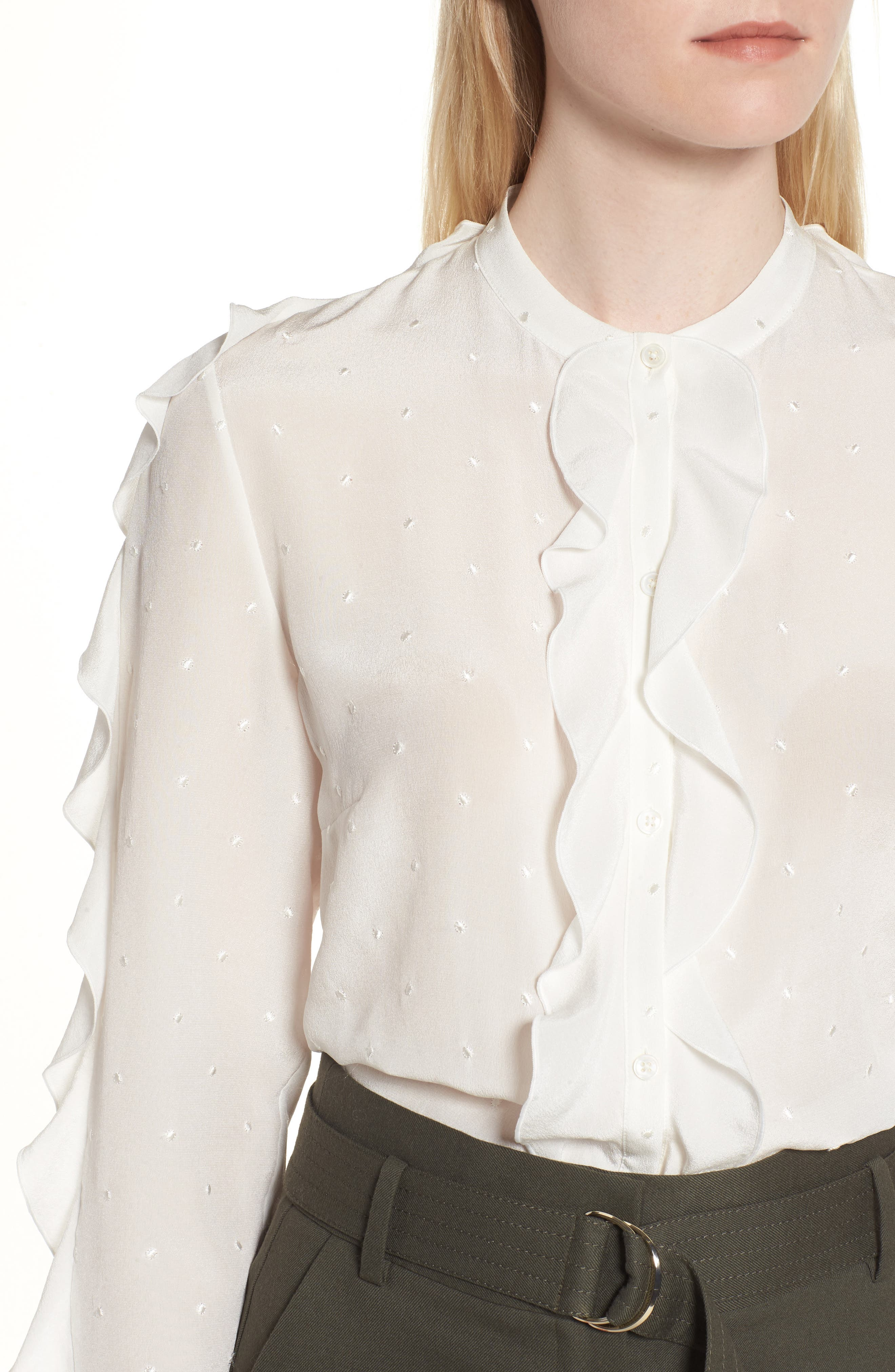 Ruffle Detail Embroidered Silk Blouse,                             Alternate thumbnail 4, color,                             900