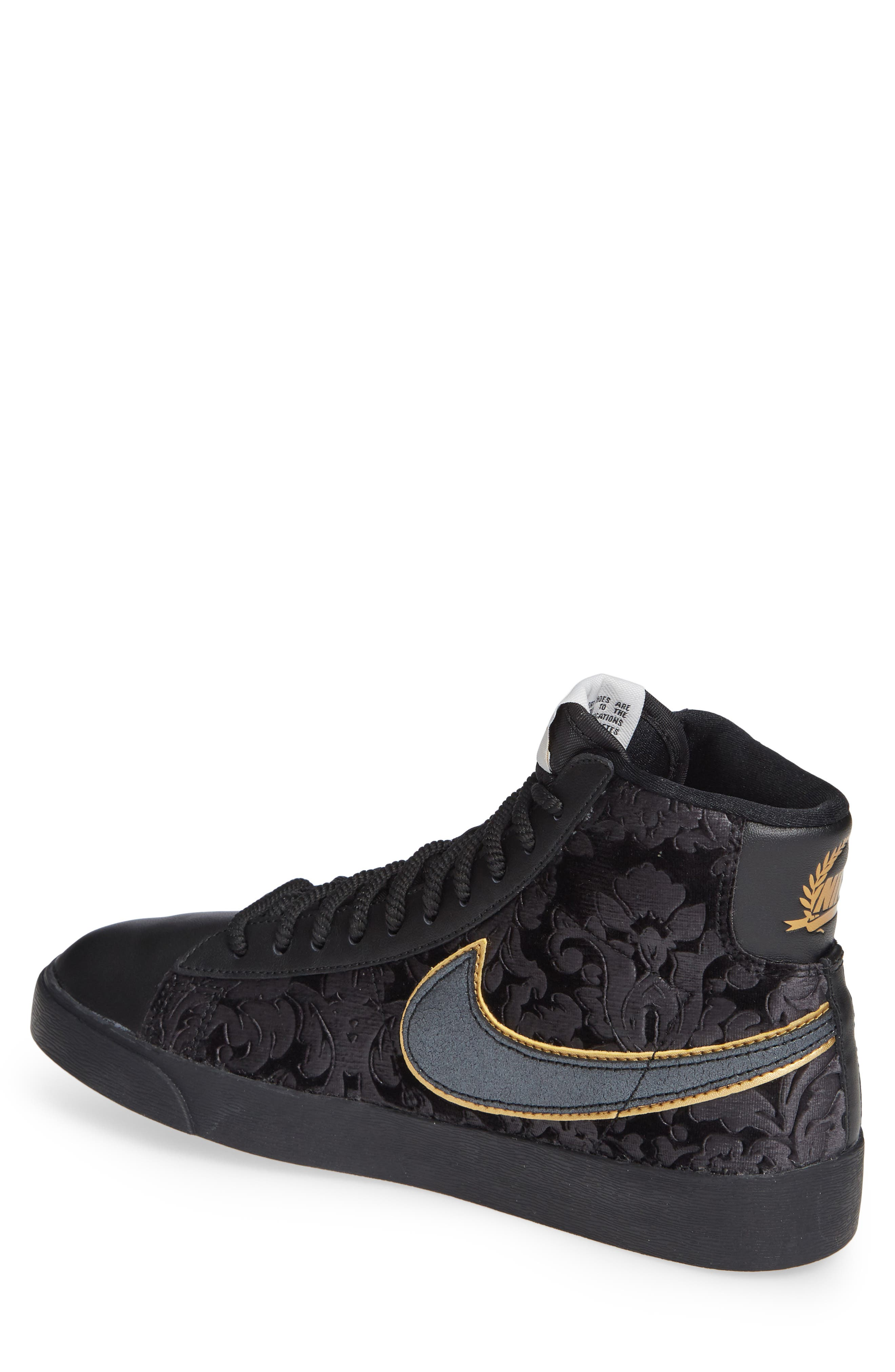 Blazer Mid Top Sneaker,                             Alternate thumbnail 2, color,                             BLACK/ GOLD/ SUMMIT WHITE