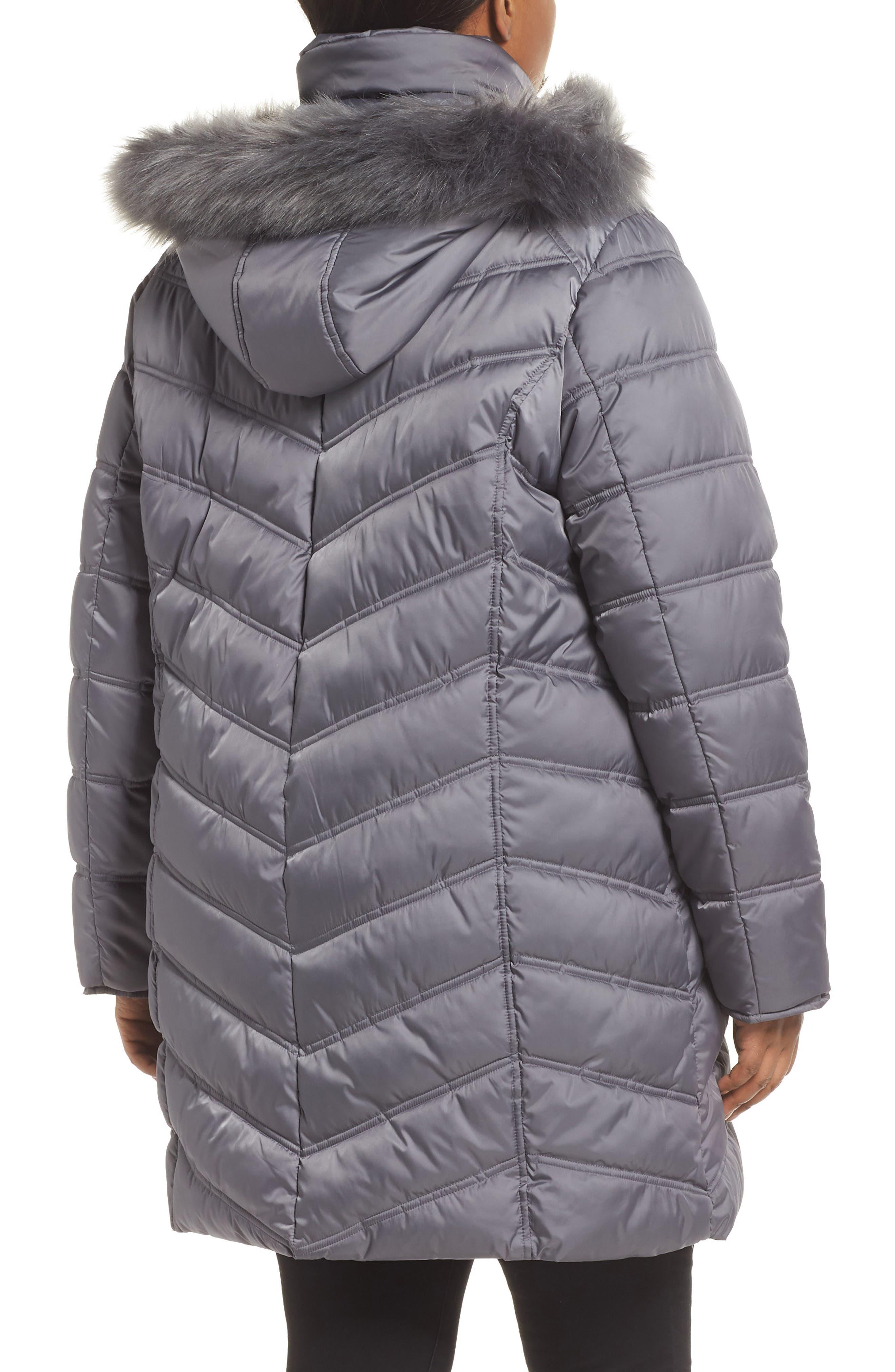 Faux Fur Trim Puffer Jacket,                             Alternate thumbnail 2, color,                             085