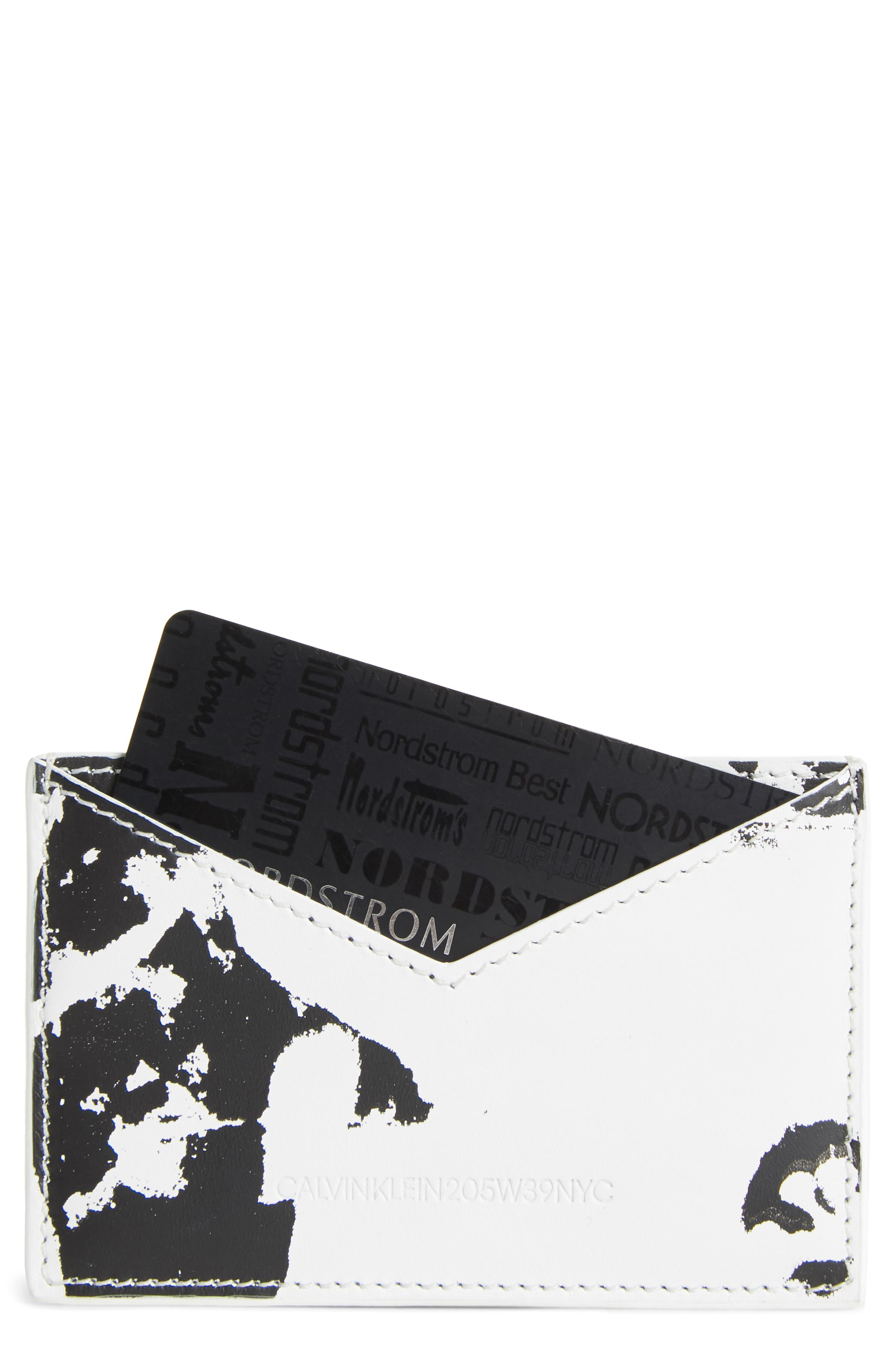 x Andy Warhol Foundation Small Card Case,                         Main,                         color, WHITE/ BLACK