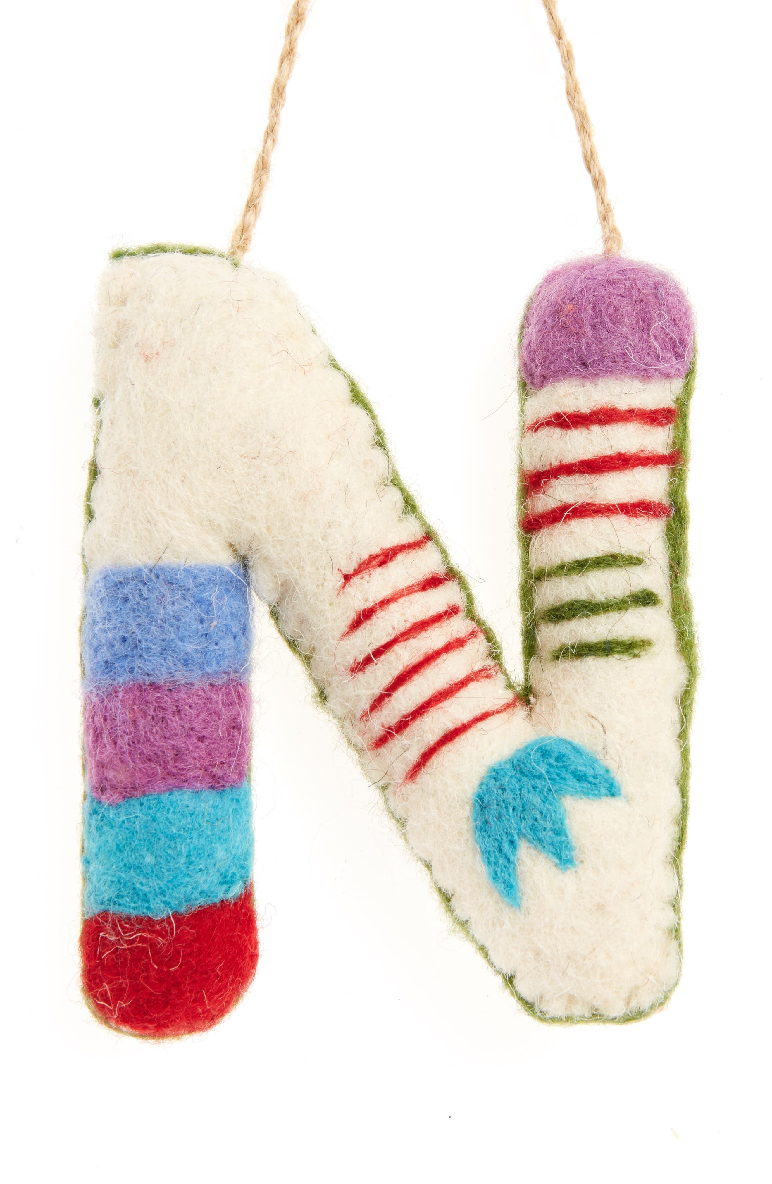 Global Folk Wool Monogram Ornament,                             Main thumbnail 14, color,
